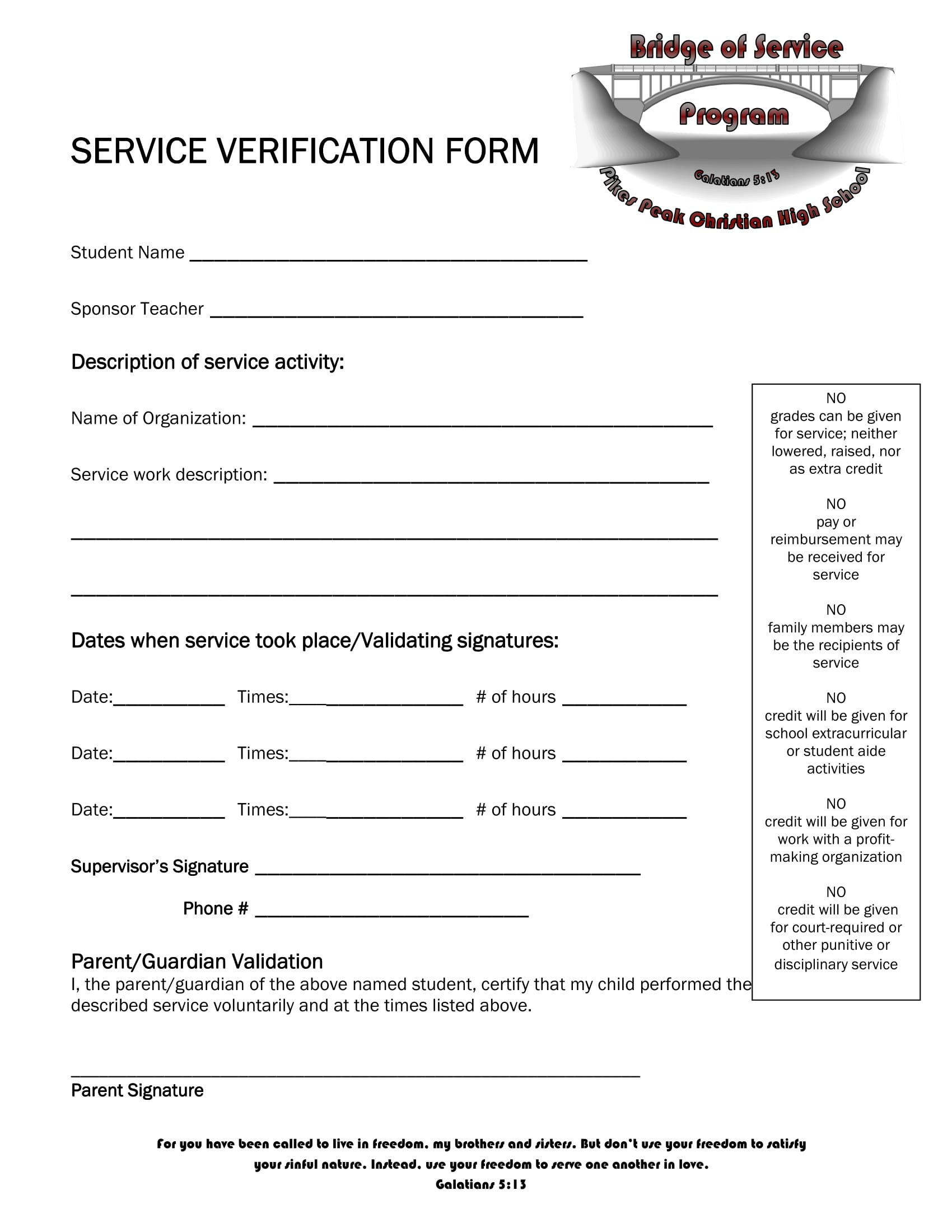 service verification form sample 1