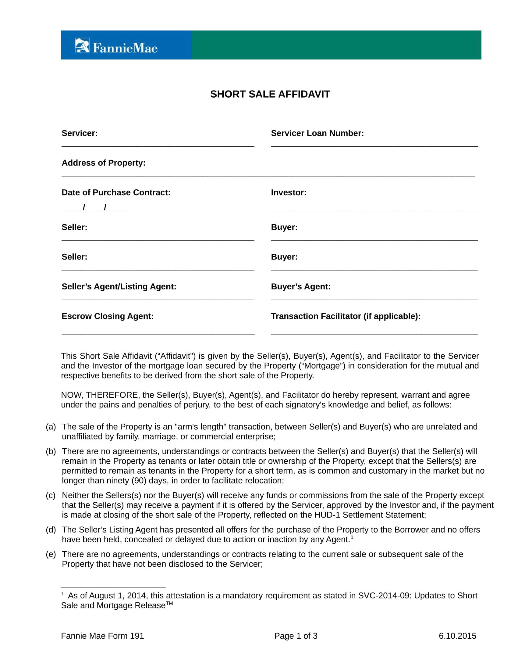 short sale affidavit form sample 2
