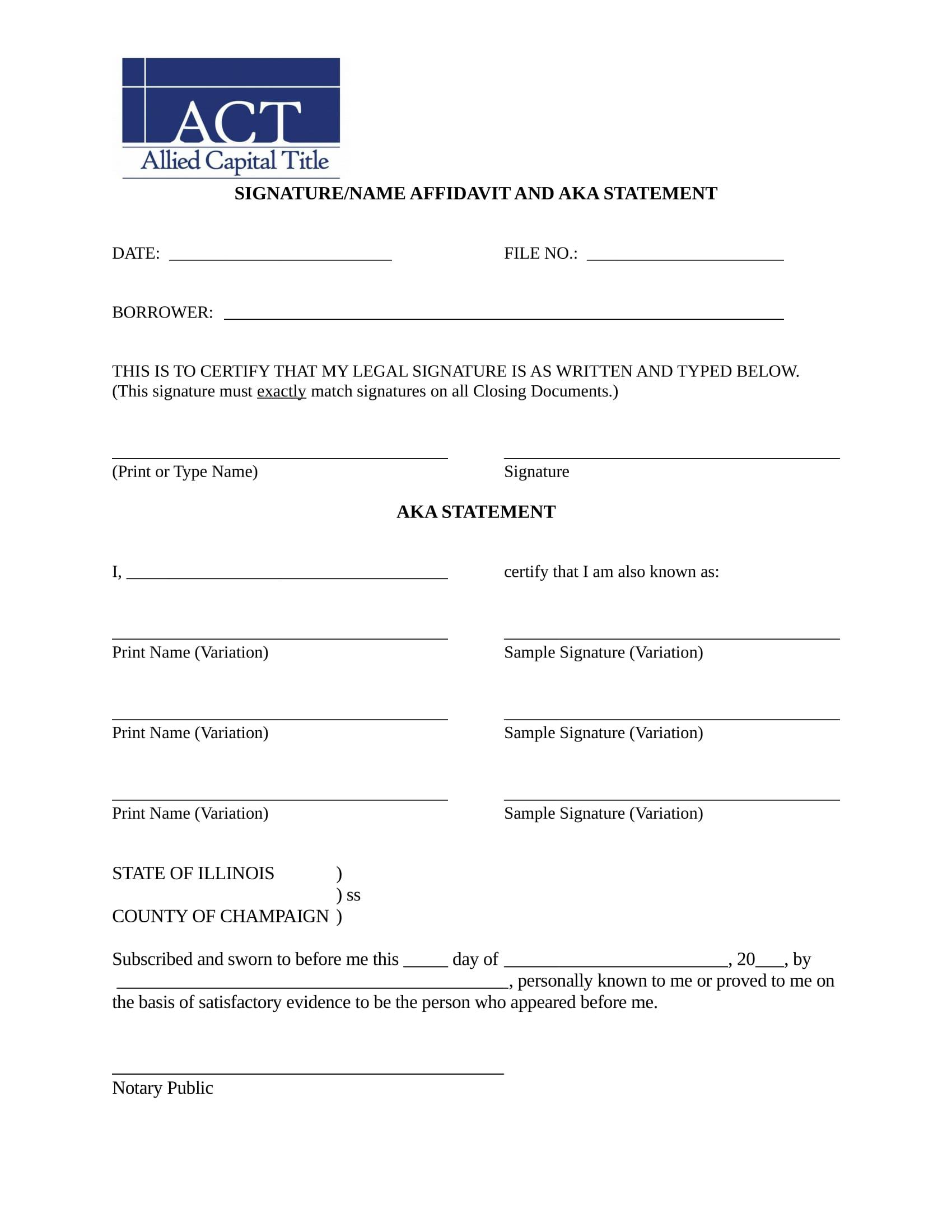 signature name affidavit format 1