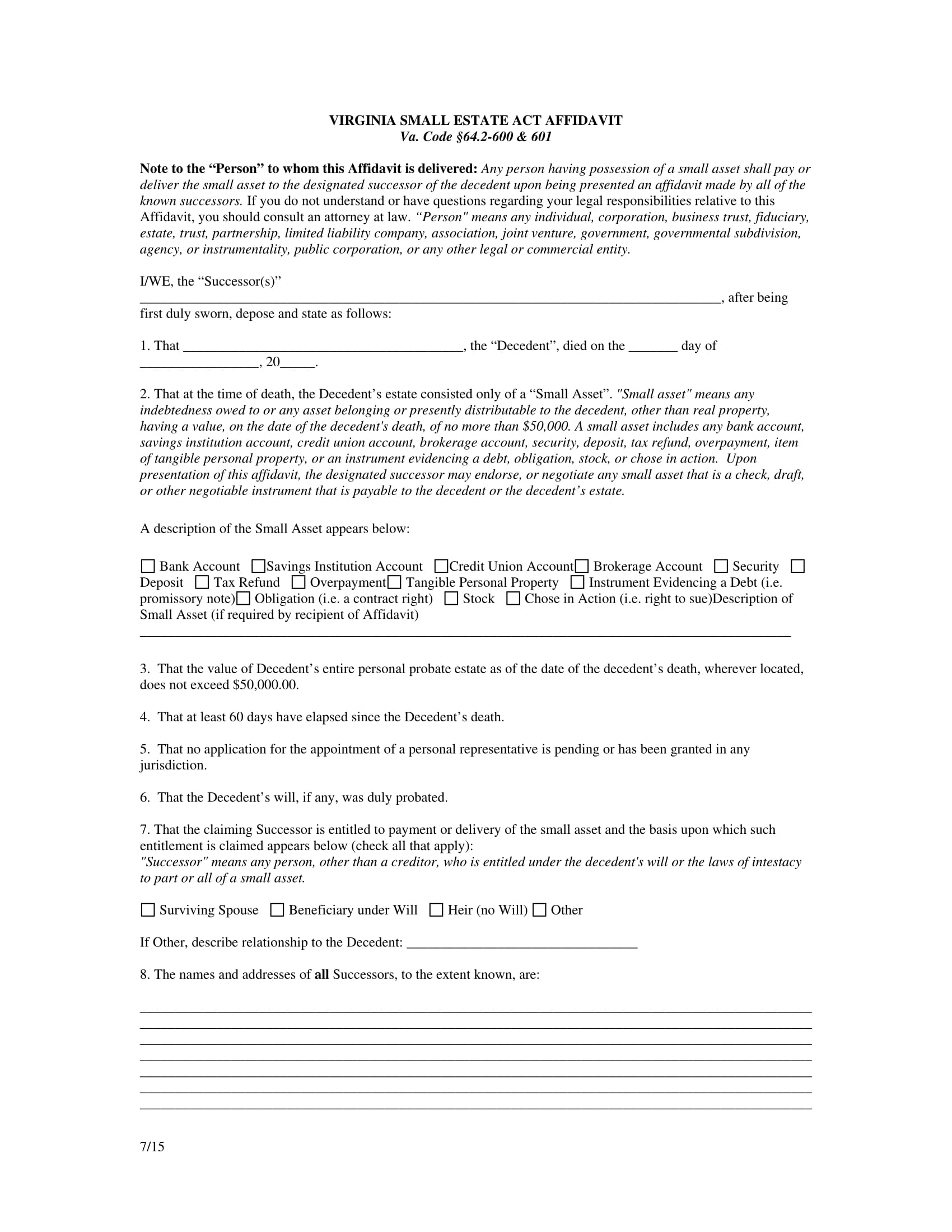 small estate act affidavit form 1