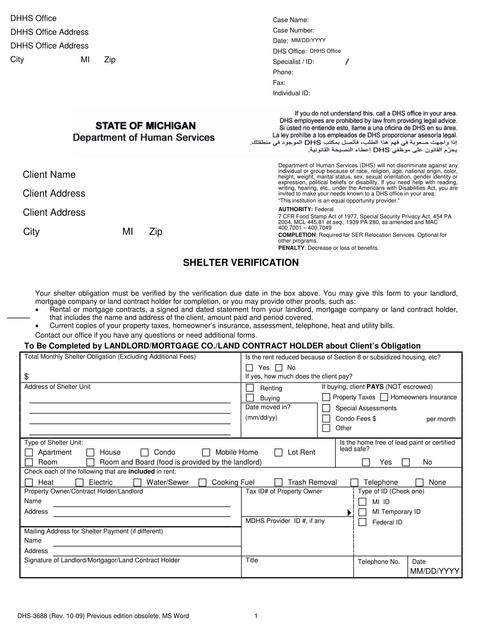 state shelter verification form 1