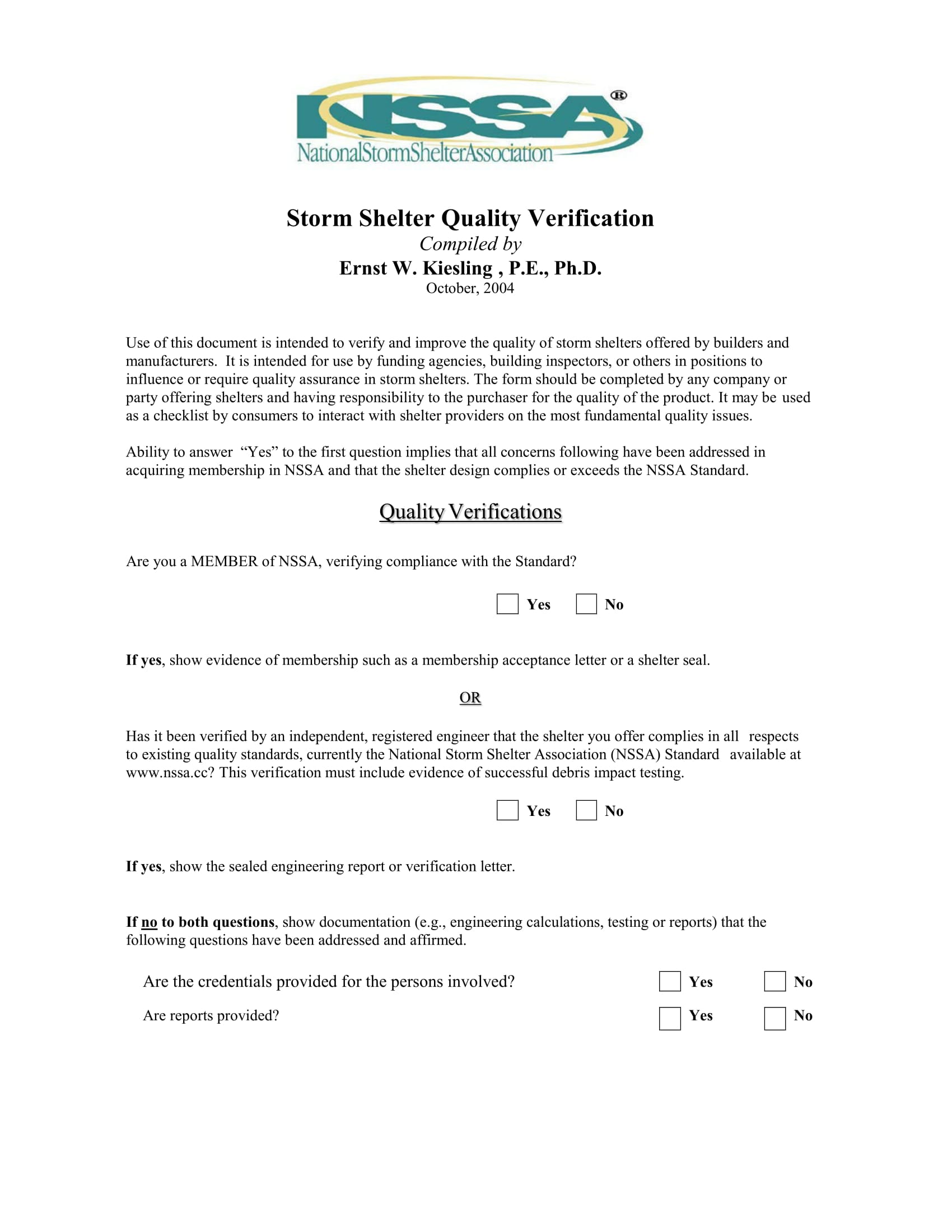 storm shelter quality verification form 1