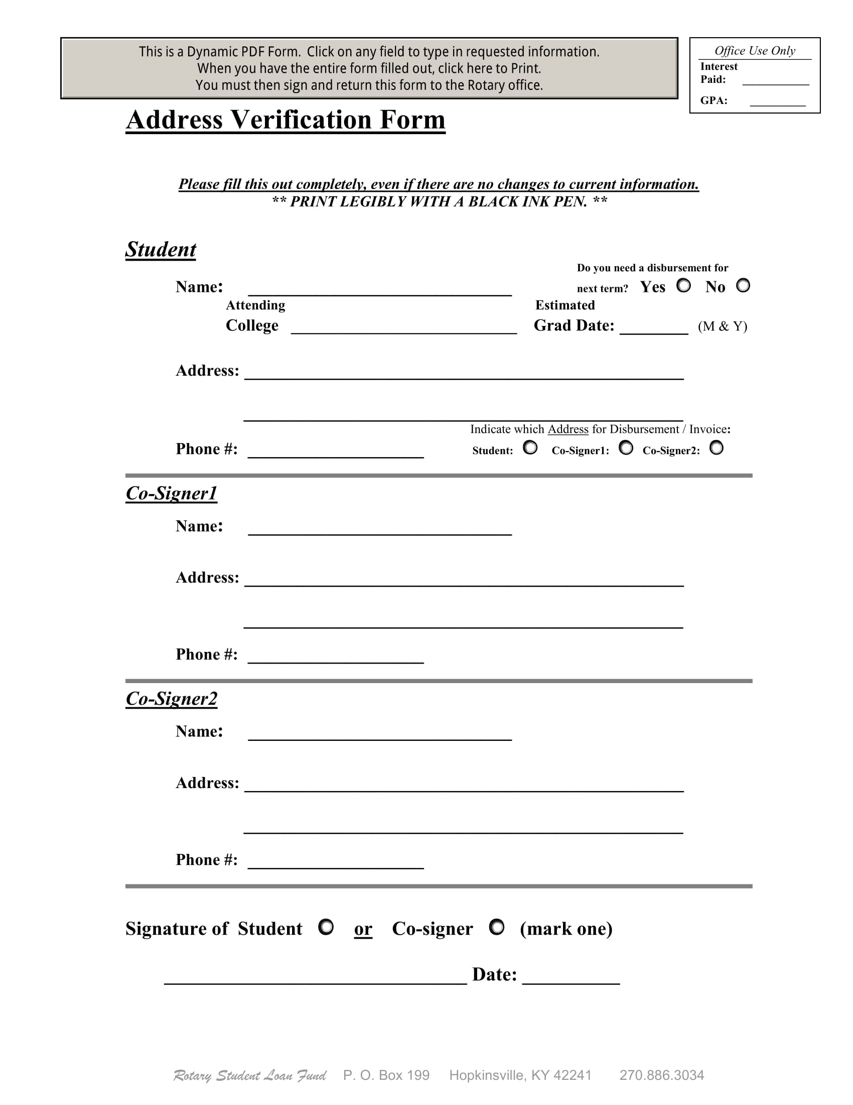 student address verification form 1