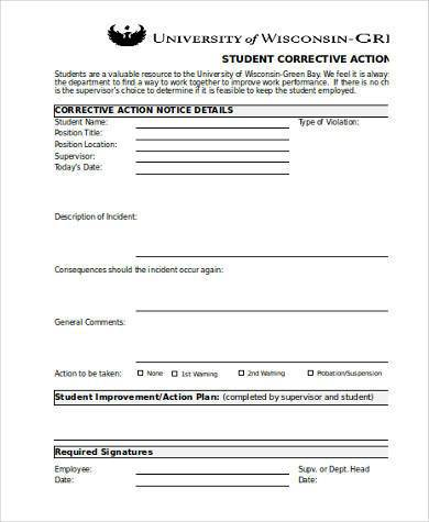 student corrective action form 390
