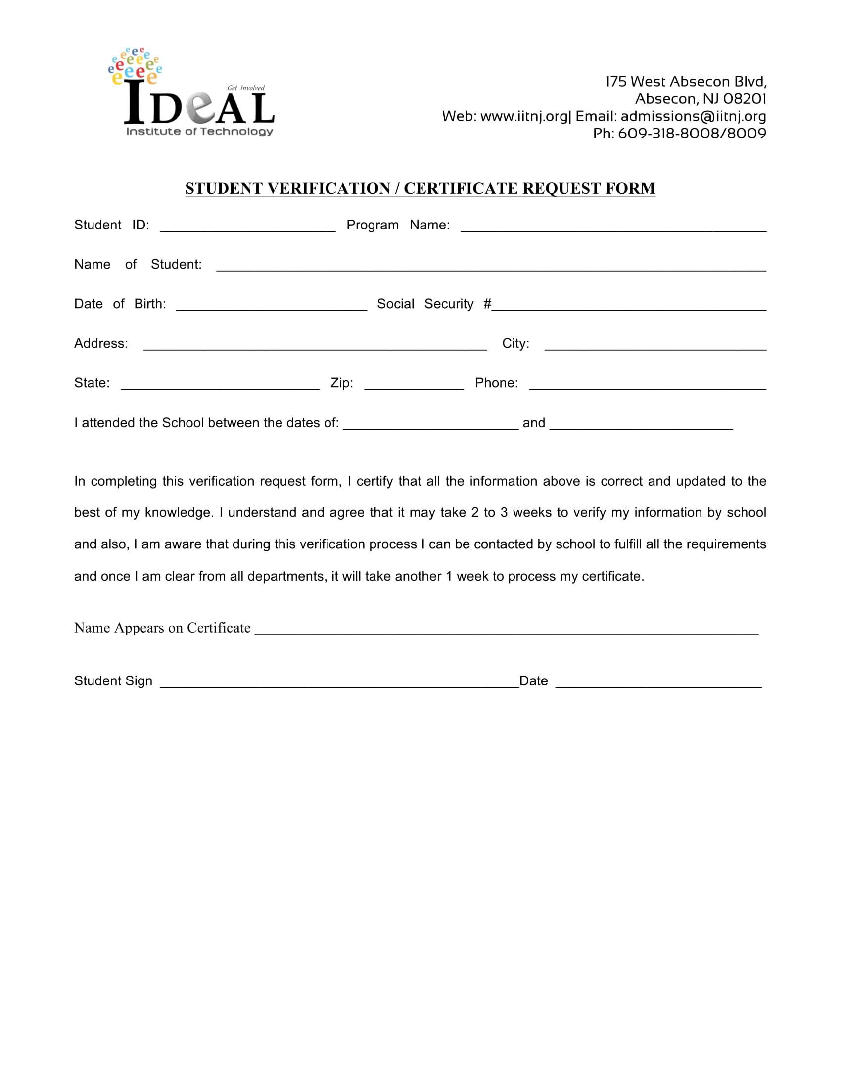 student verification certificate form 1
