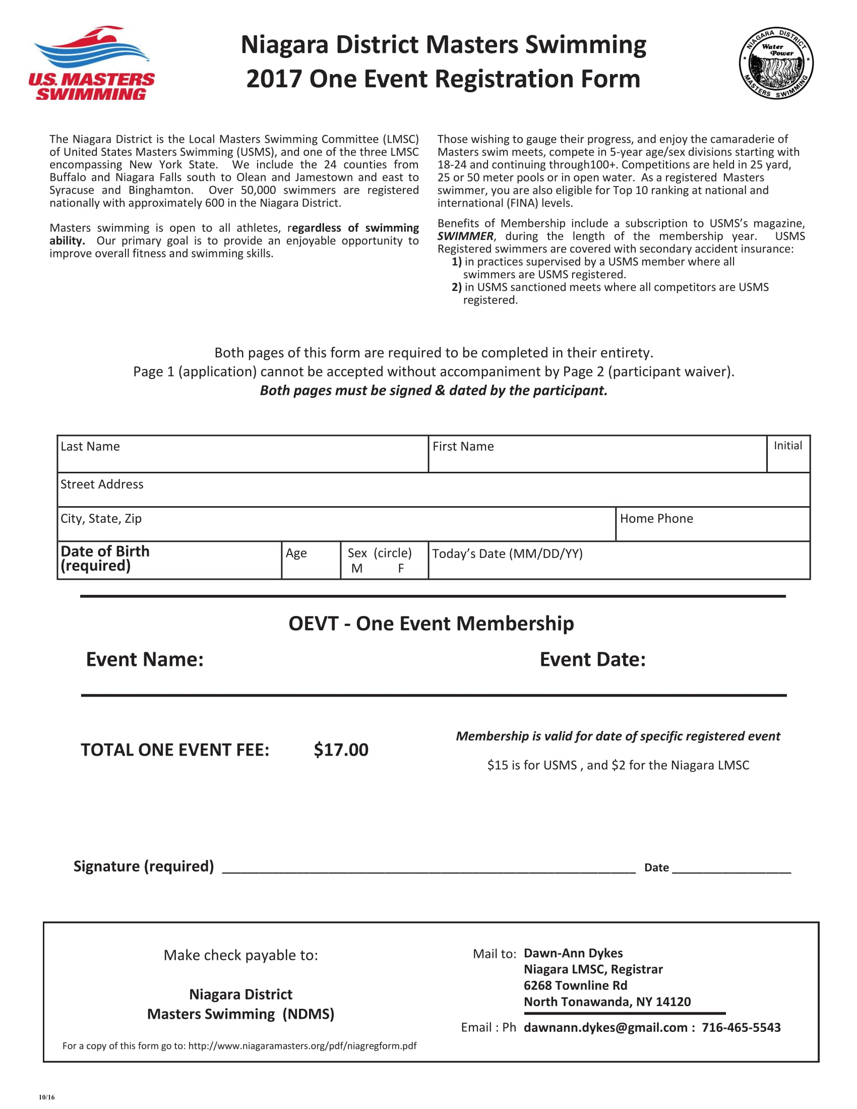 swimming event registration form 1