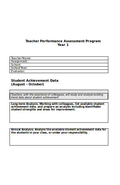 teacher performance assessment form