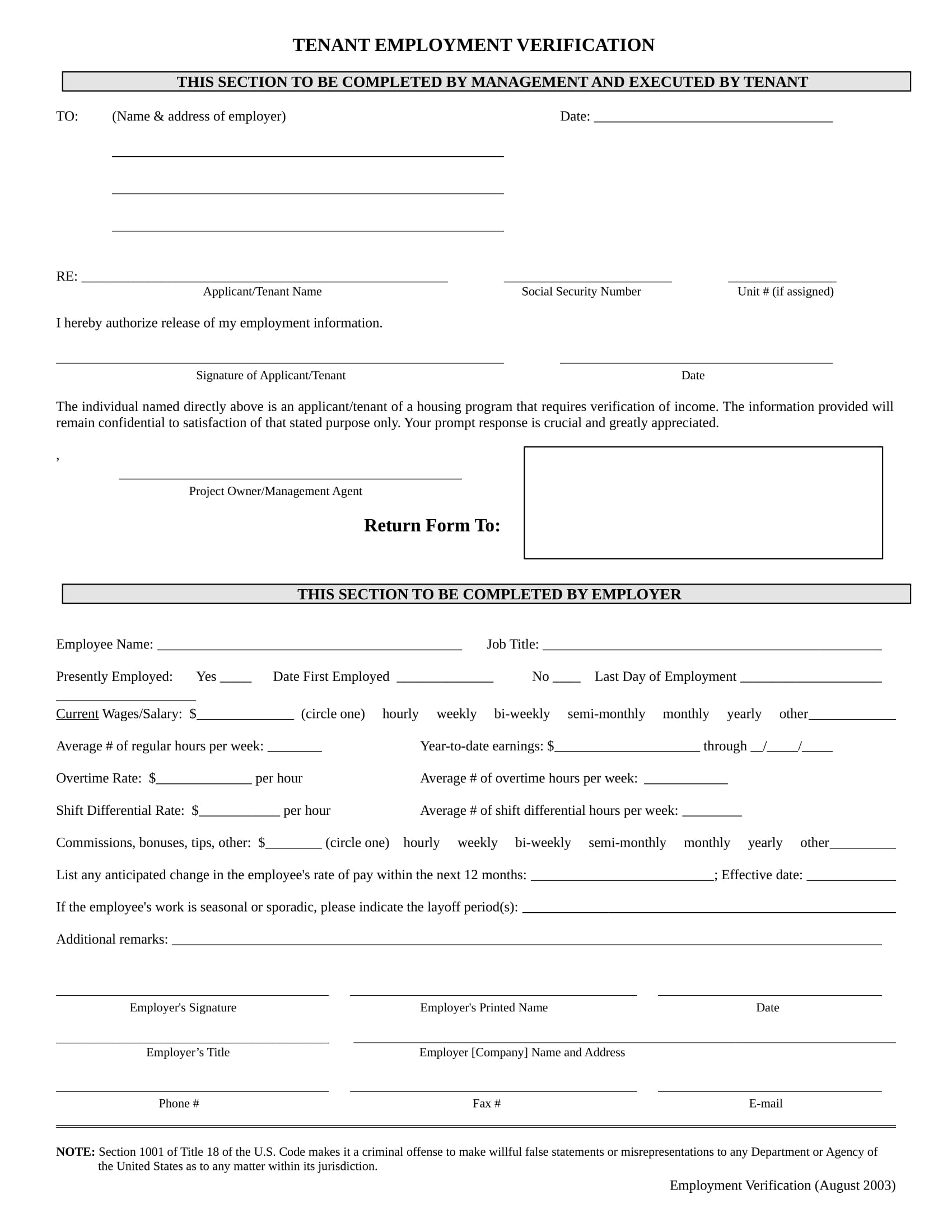 tenant application employment verification form 11