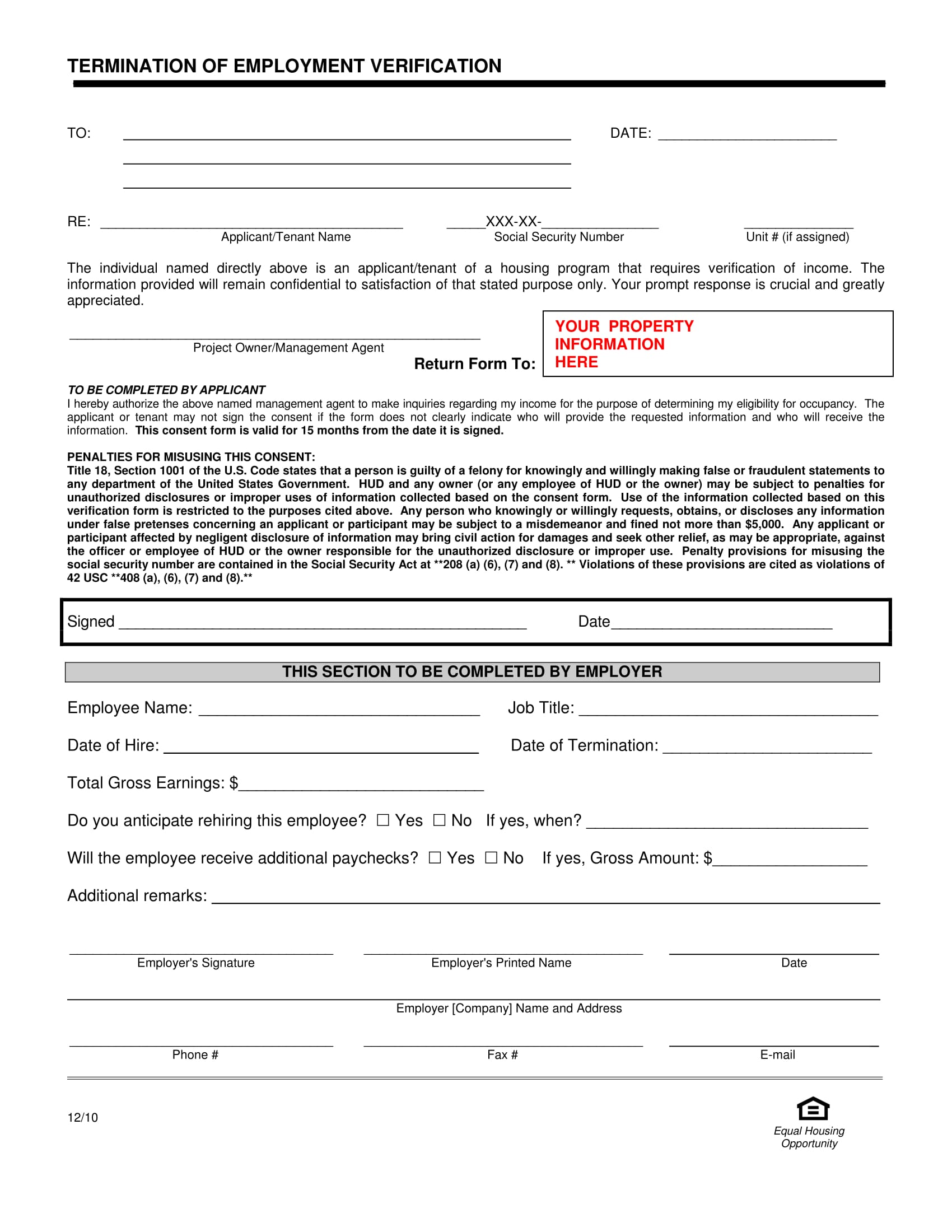 tenant employment termination verification form 1