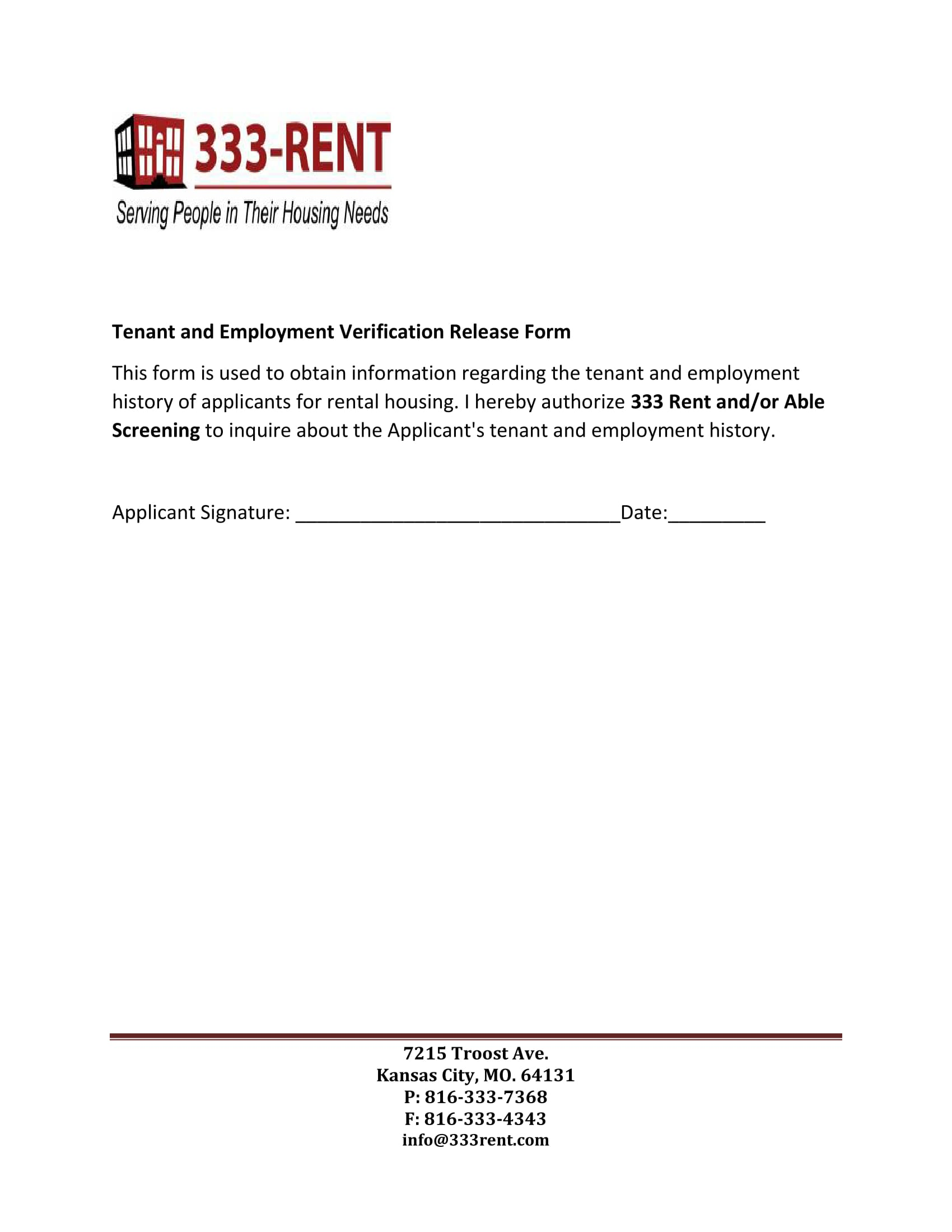 tenant employment verification release form 1