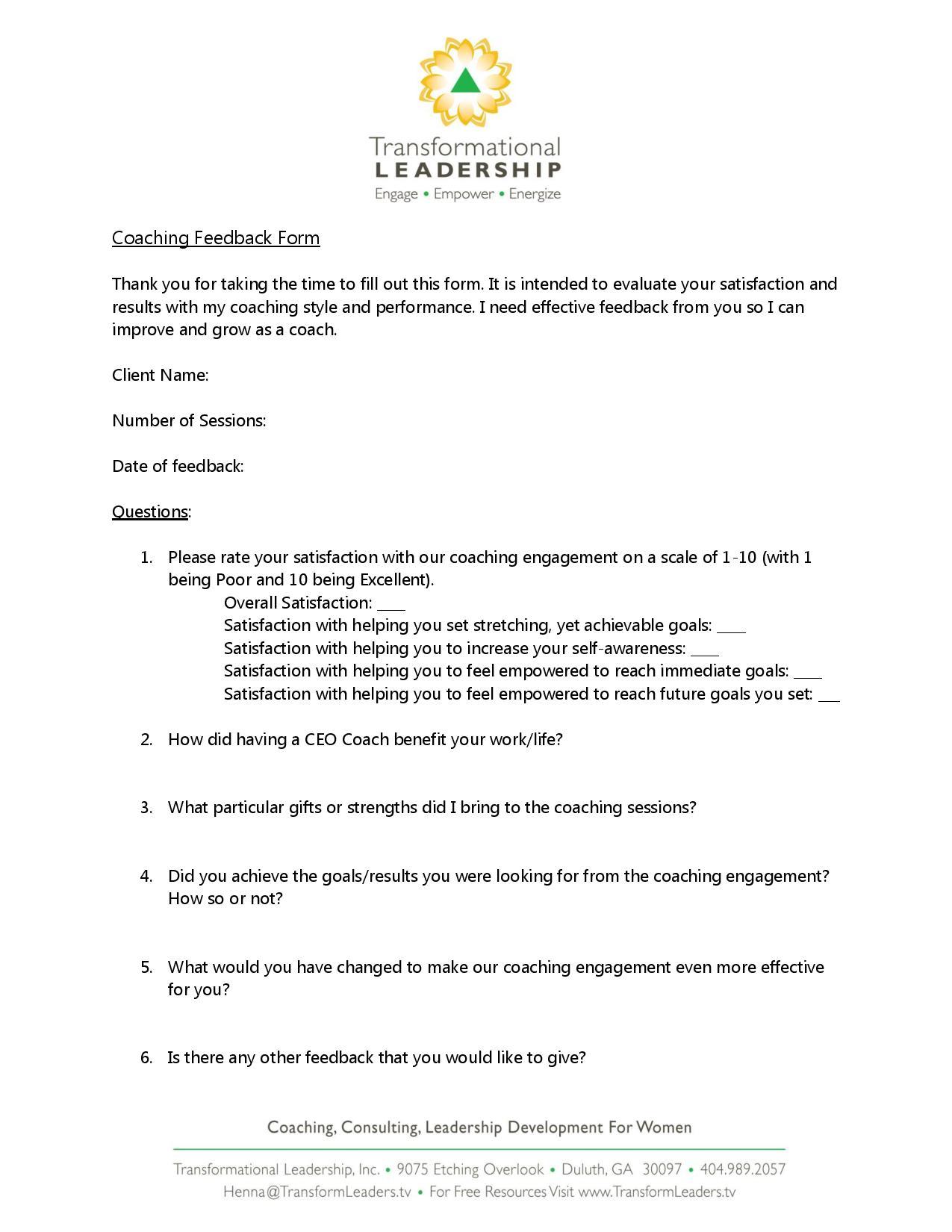 transformational leadership coaching feedback form page 001
