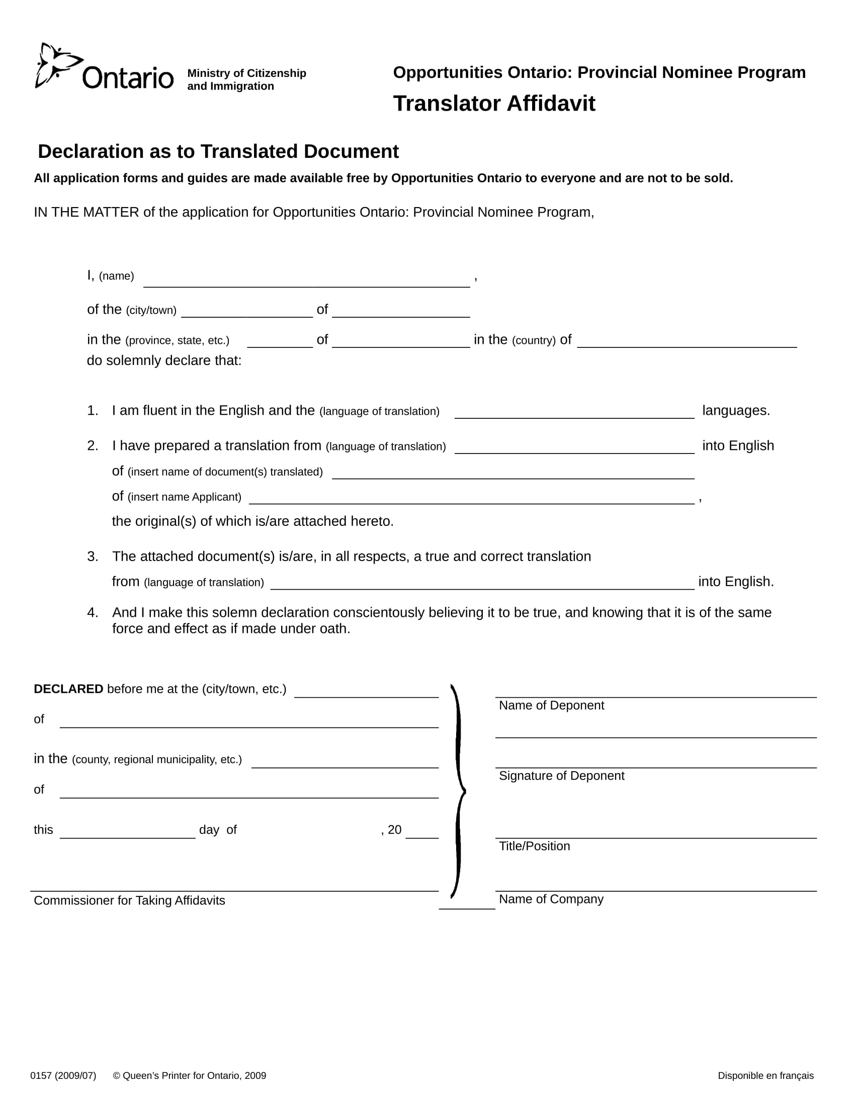 20 sample affidavit forms translator affidavit form sample yelopaper Image collections