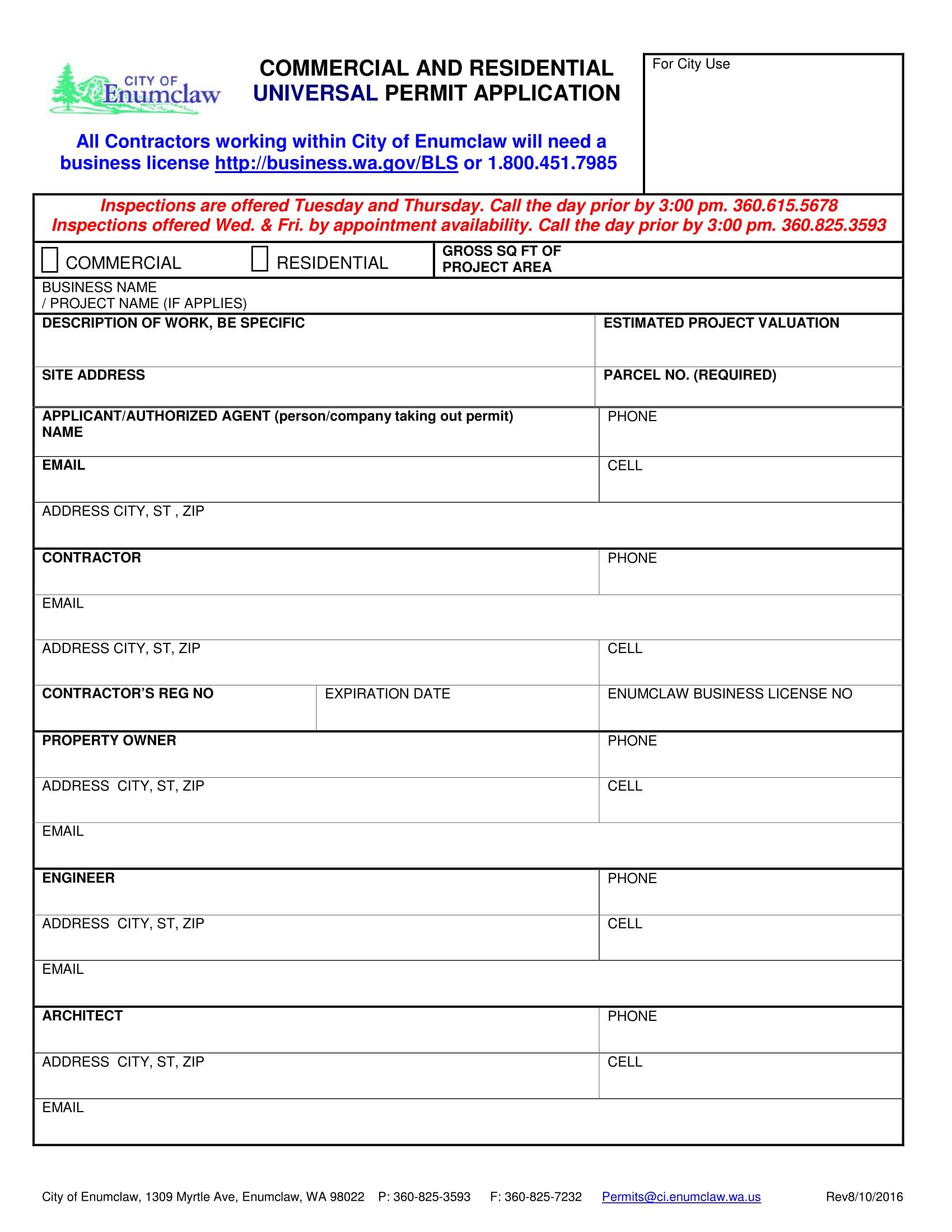 universal building permit app 2016 08 10 fillable