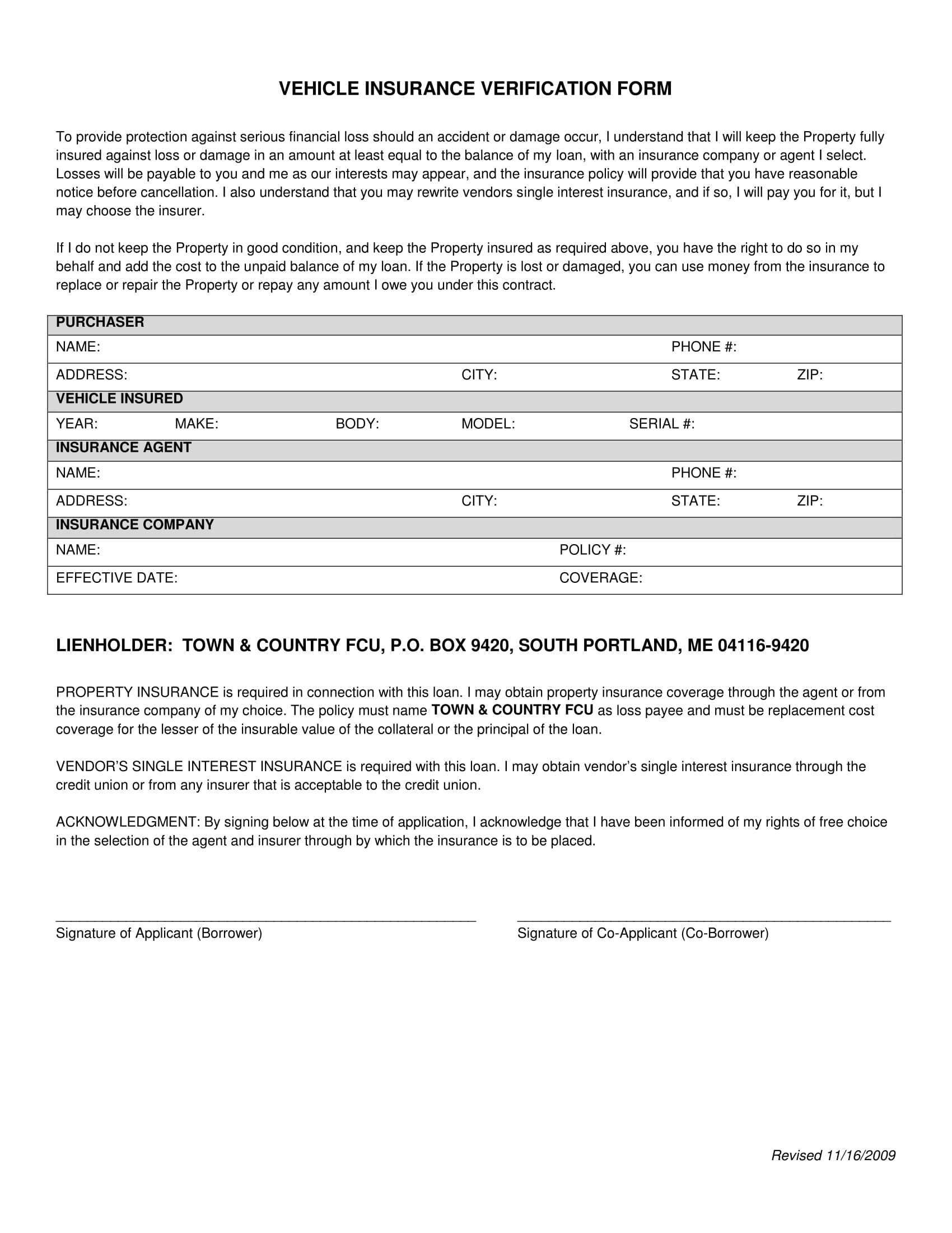 vehicle insurance verification form 1