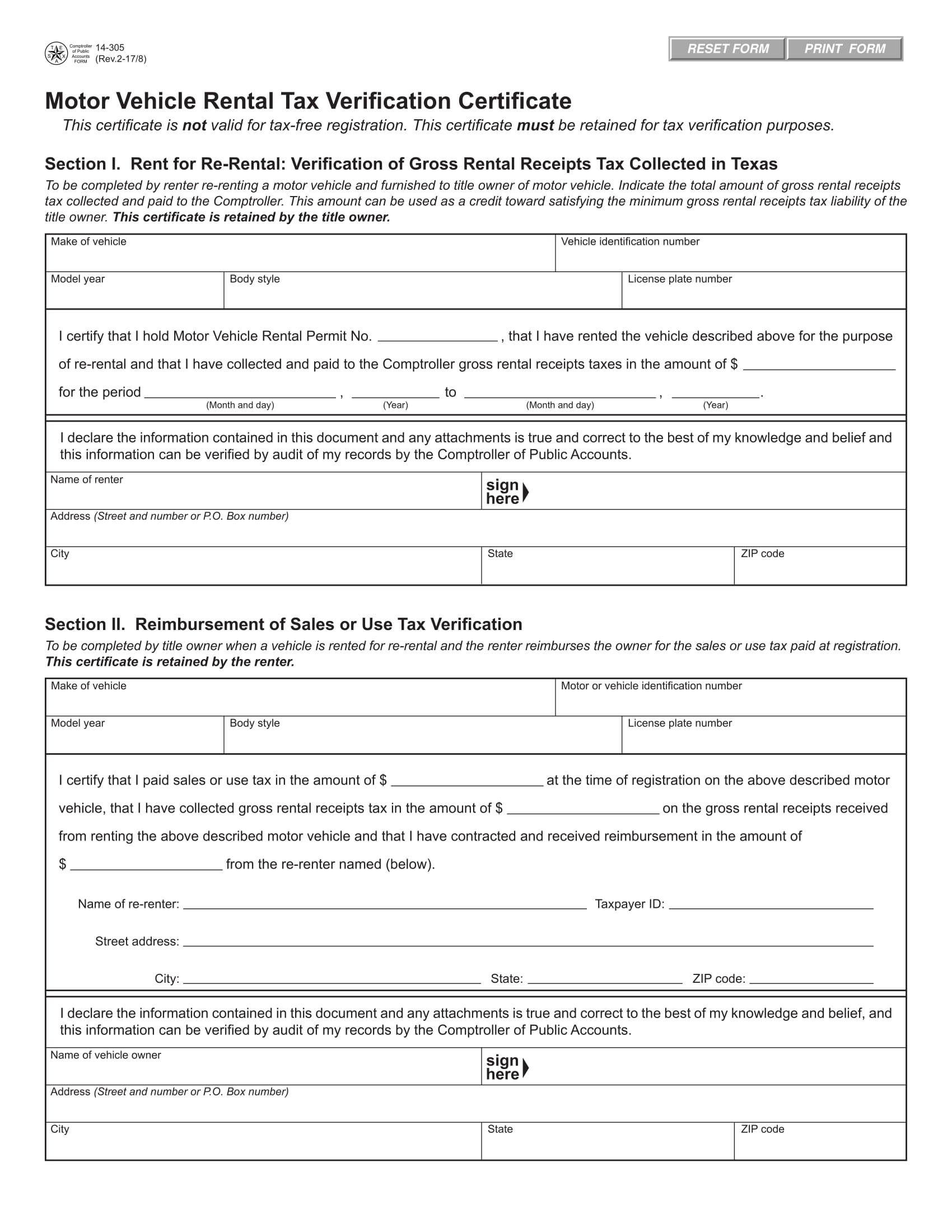 vehicle rental tax verification form 1