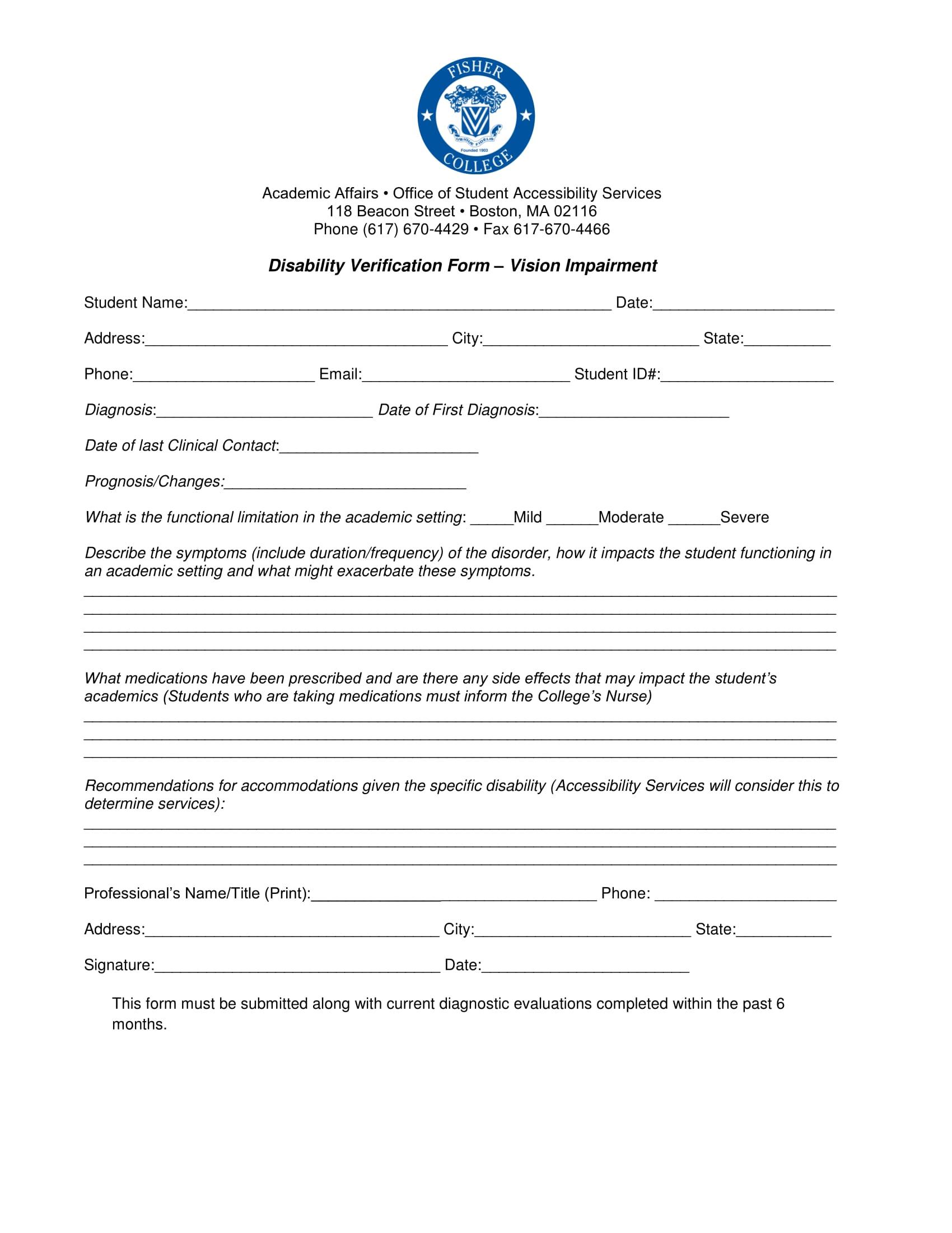 vision disability verification form 11