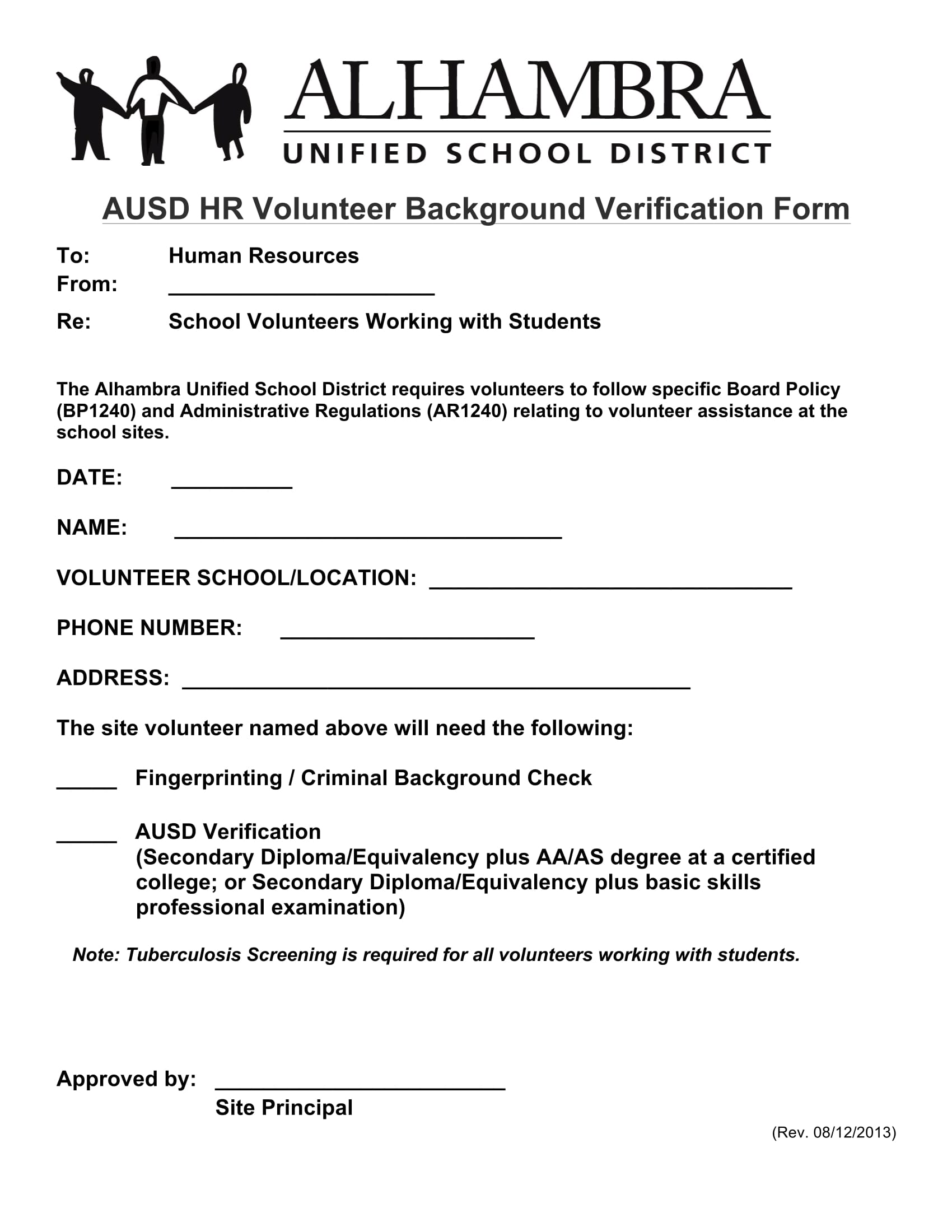 volunteer background verification form 1