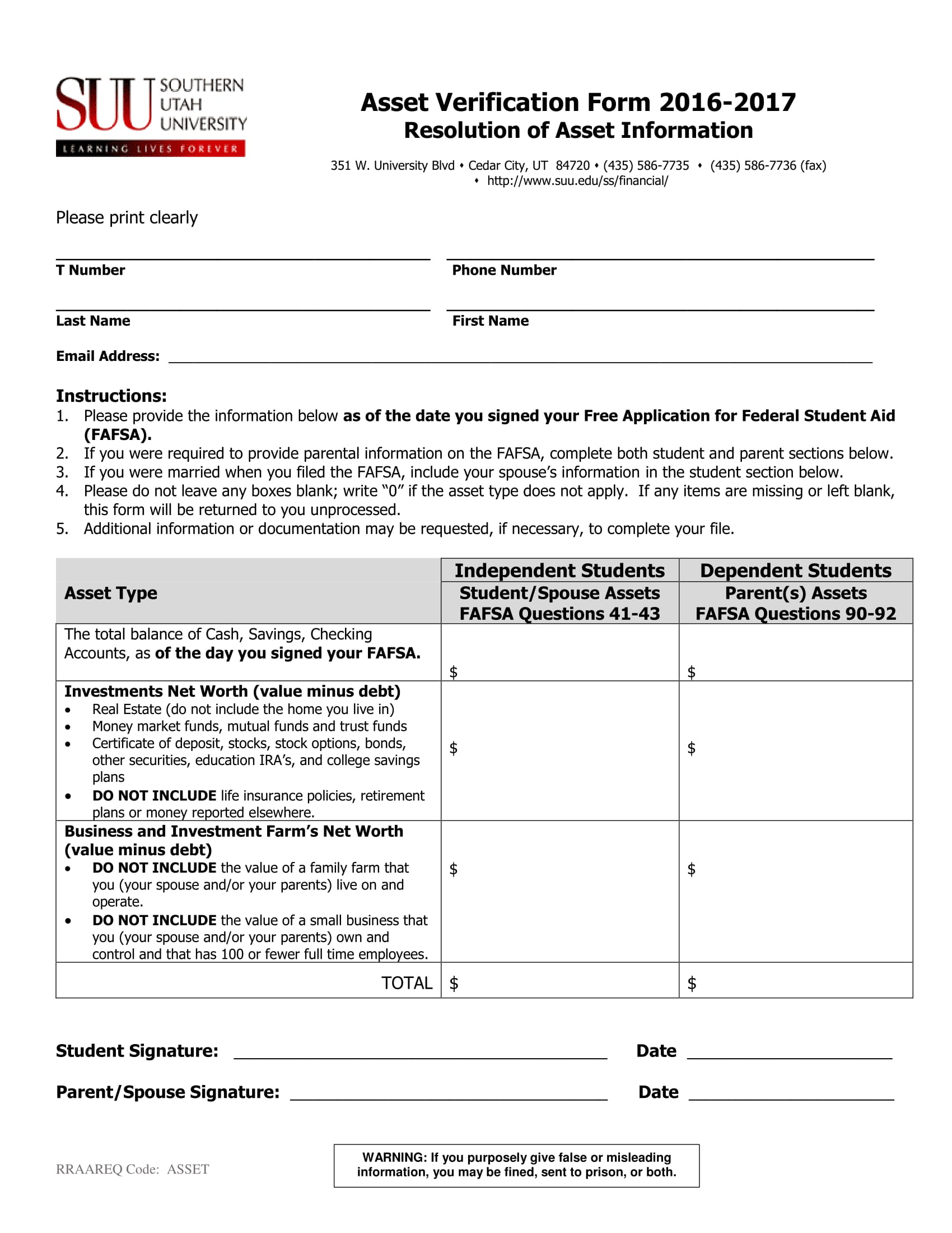 asset information verification form 1