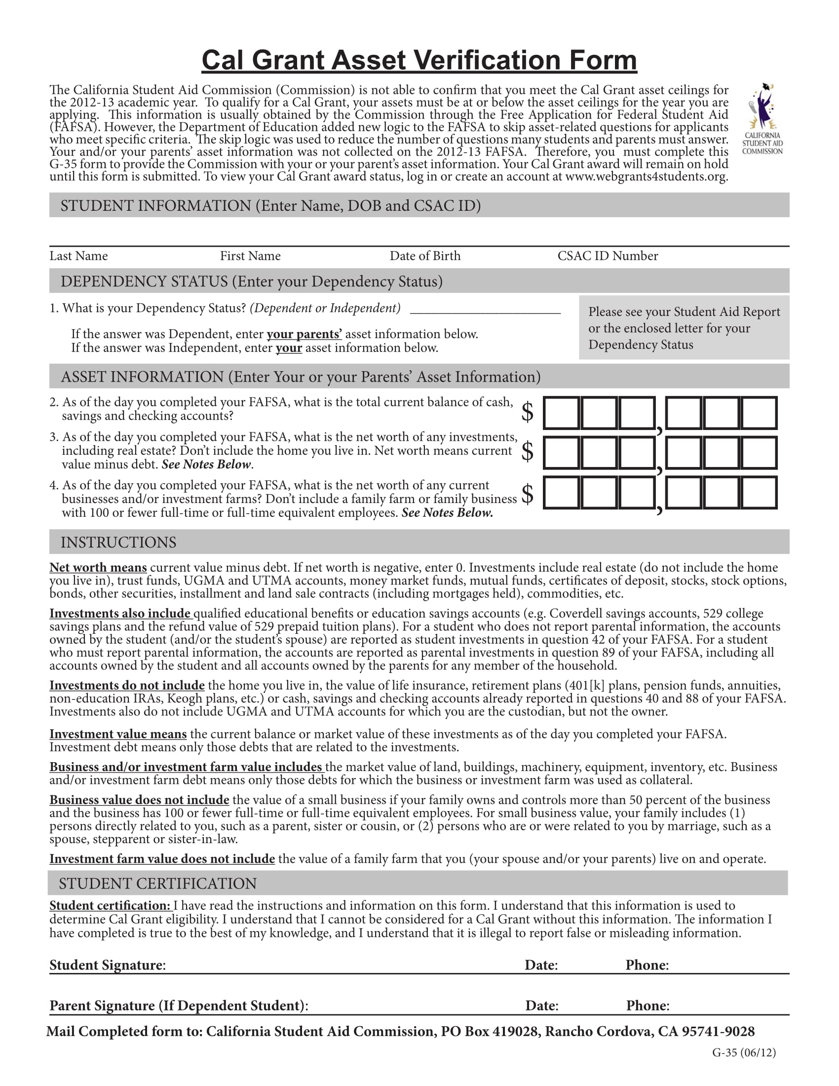 cal grant asset verification form 1