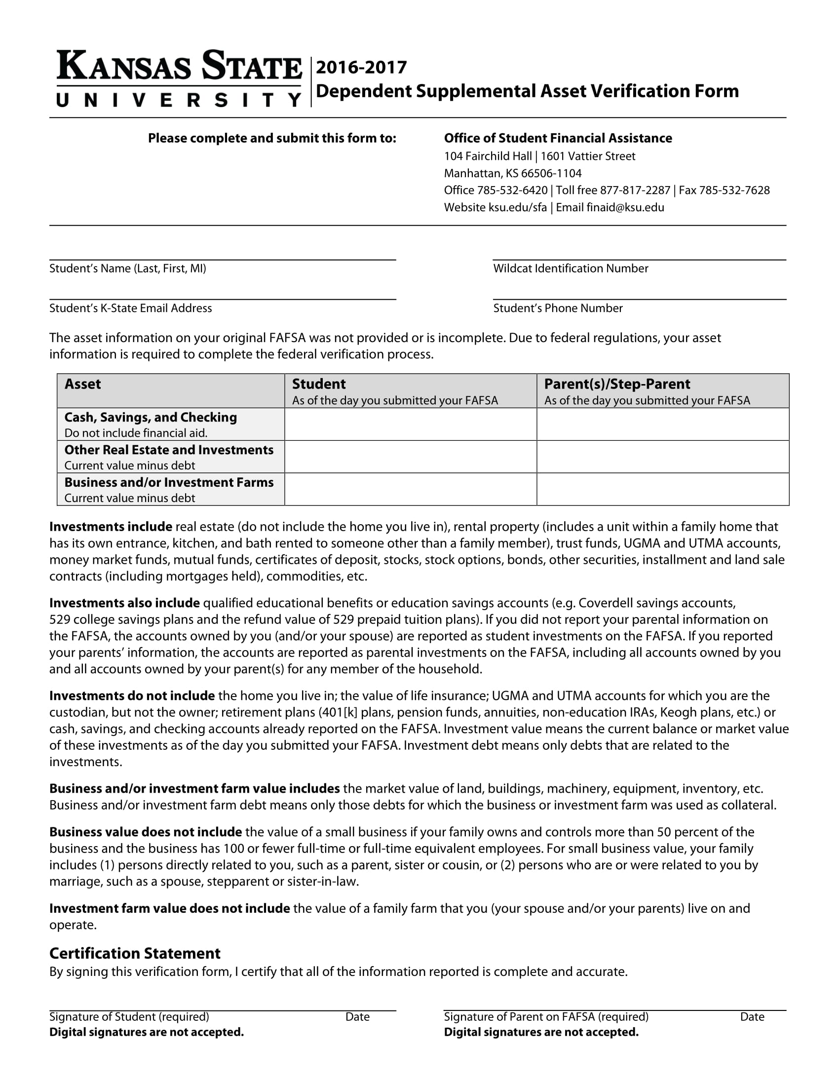 dependent supplemental asset verification form 1