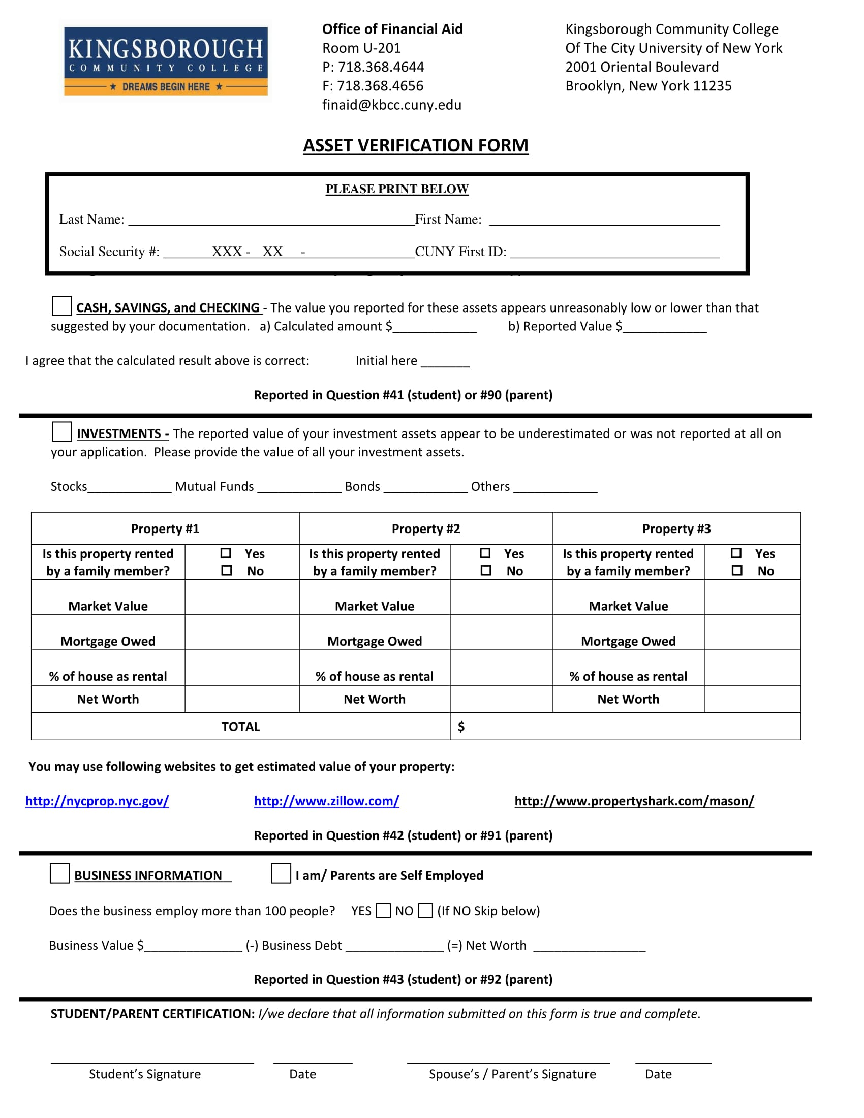financial aid asset verification form 1
