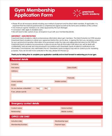 gym membership application form 390