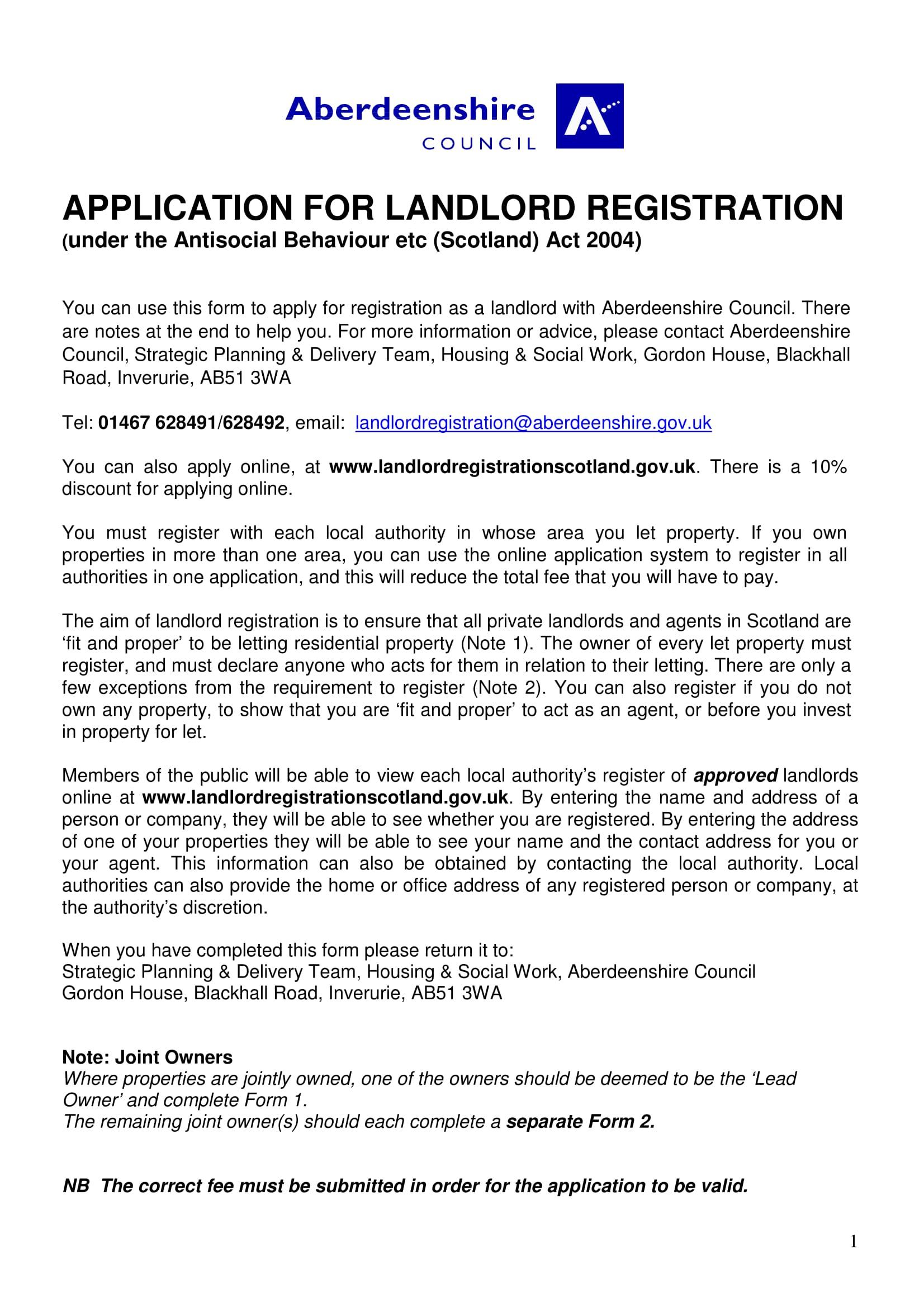 landlordregistrationleadownerapplication-01 Job Application Form Pdf Uk on