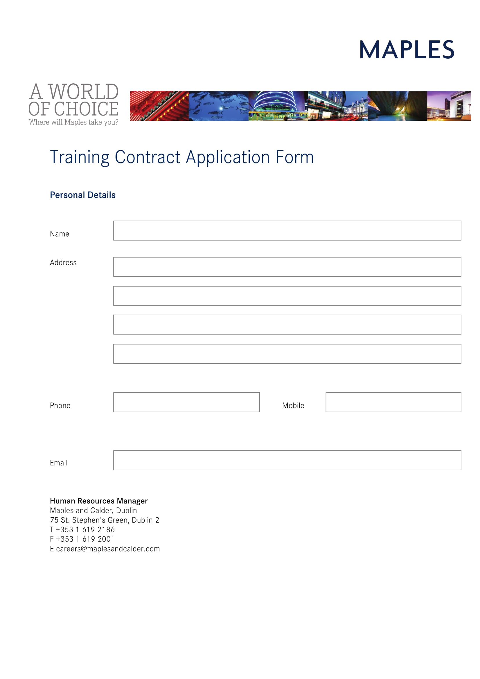 maples training contract application 2