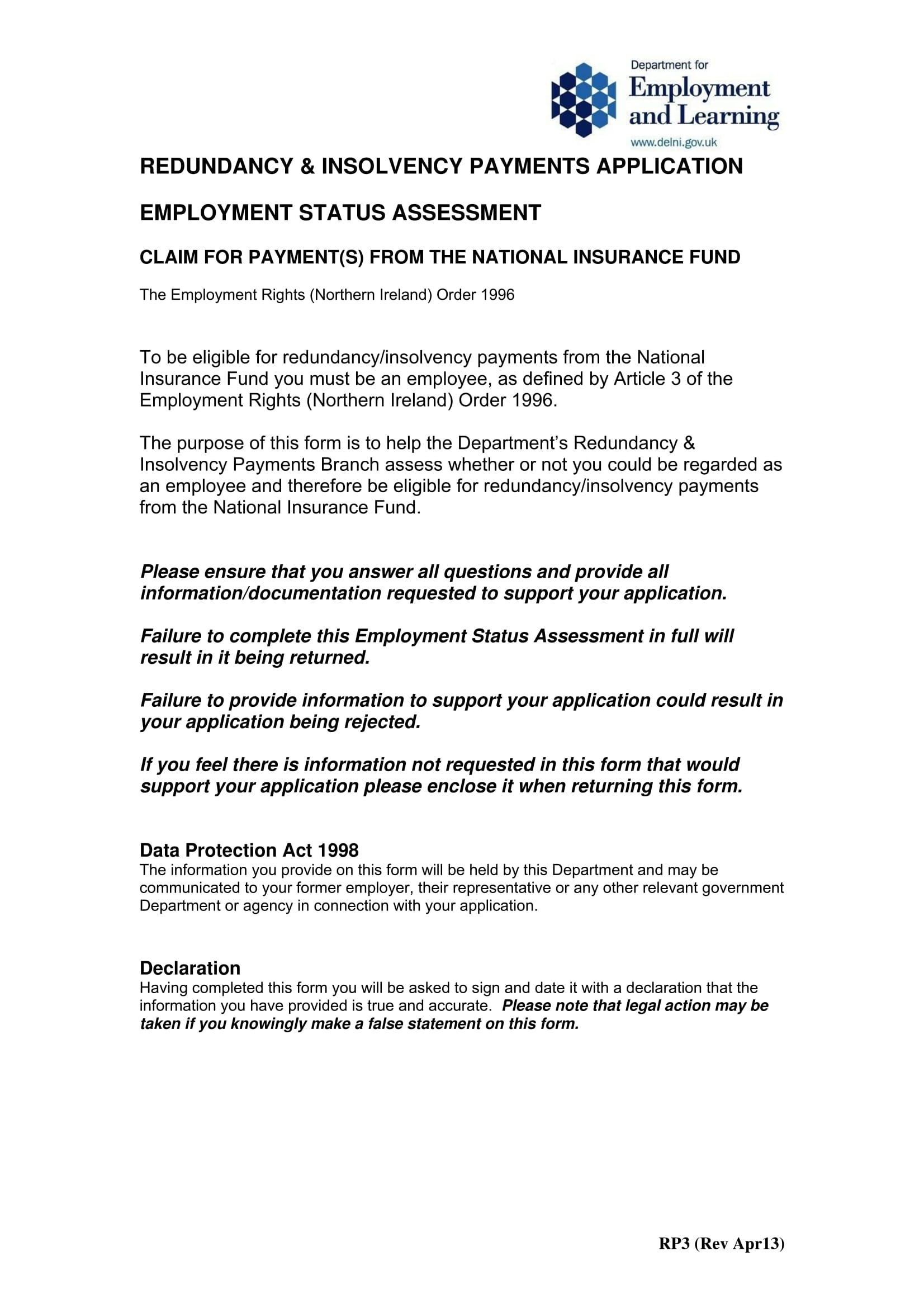 employee status form