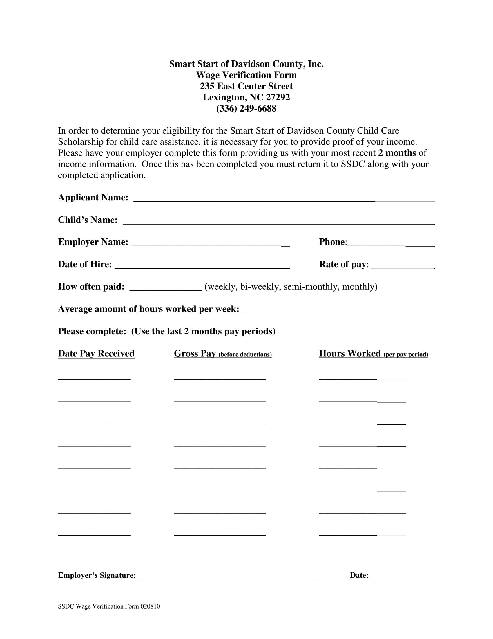 scholarship wage verification form 1