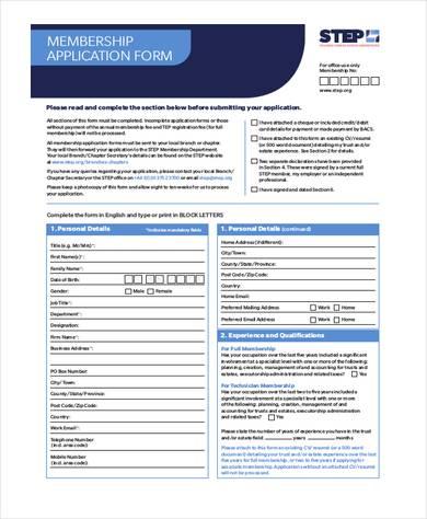 society membership application form 390