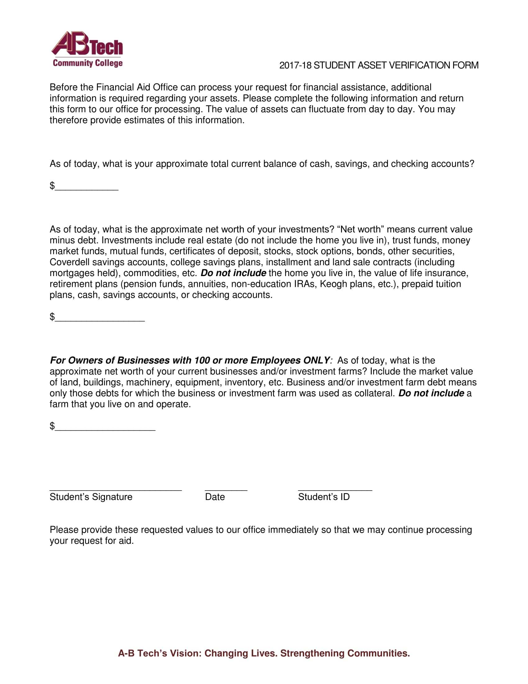 tech student asset verification form 2