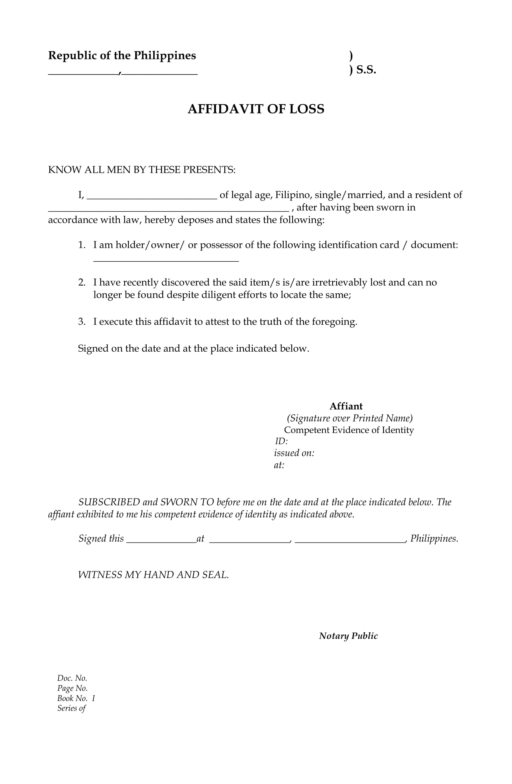 website affidavit of loss general blank form 1