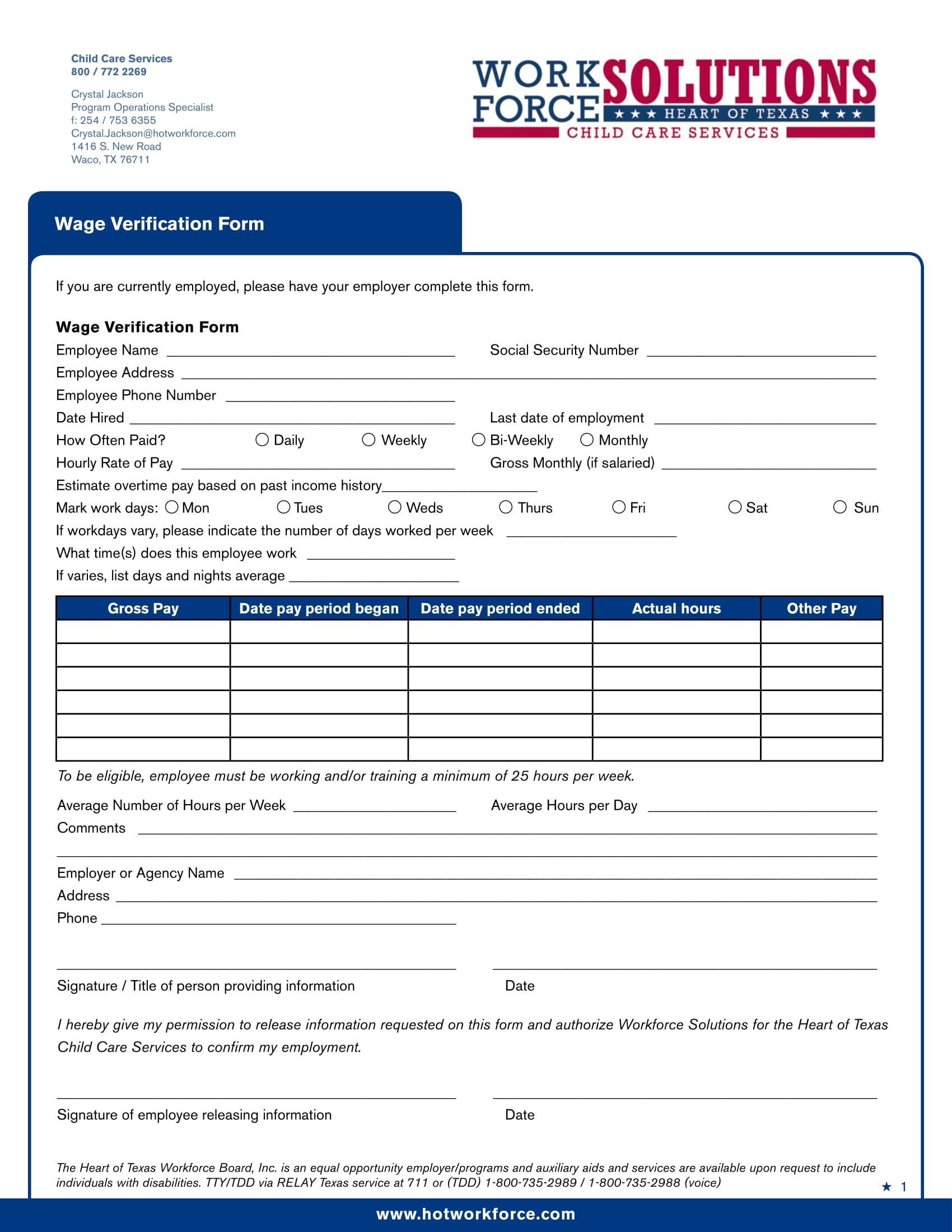 workforce wage verification form 1