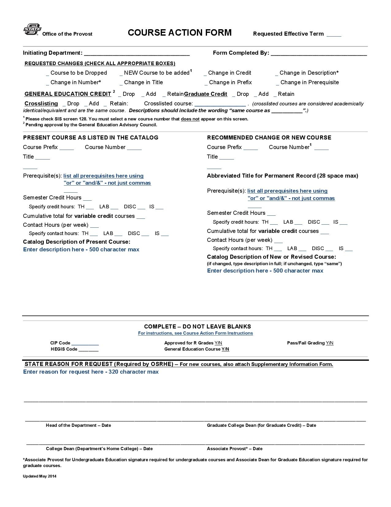 academic course action form page 001