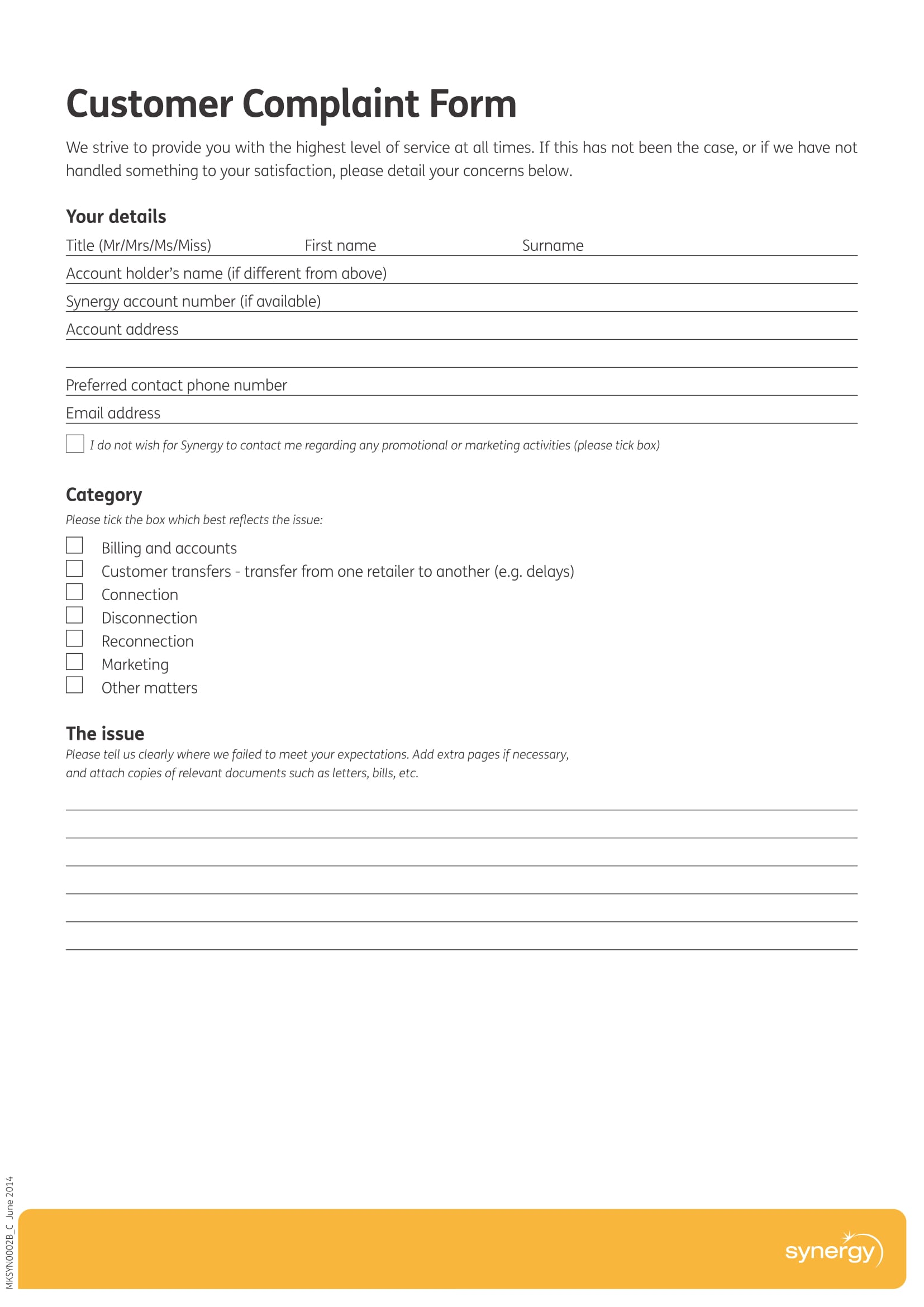 9+ Customer Complaint Forms - Free Word, PDF Format Download
