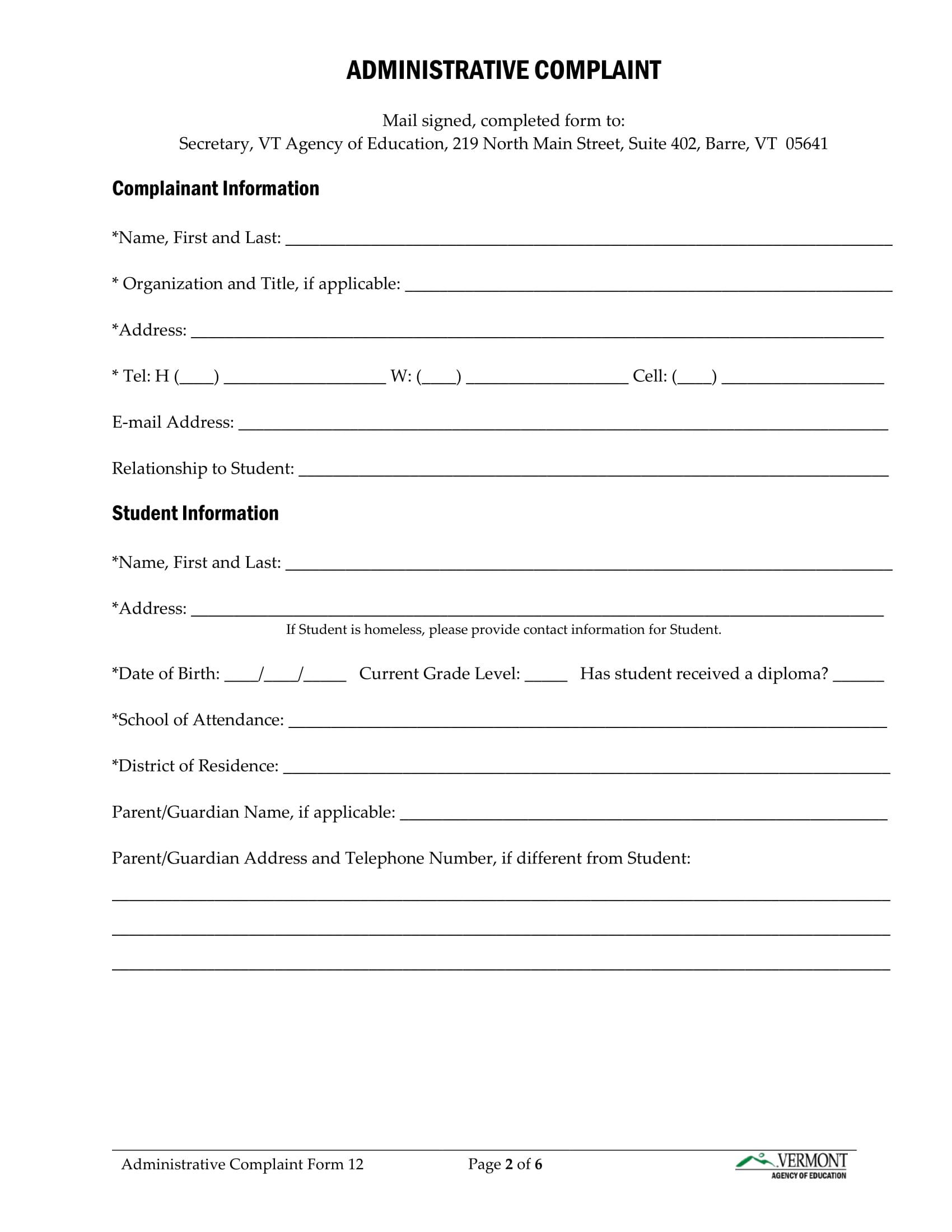 administrative complaint form 2