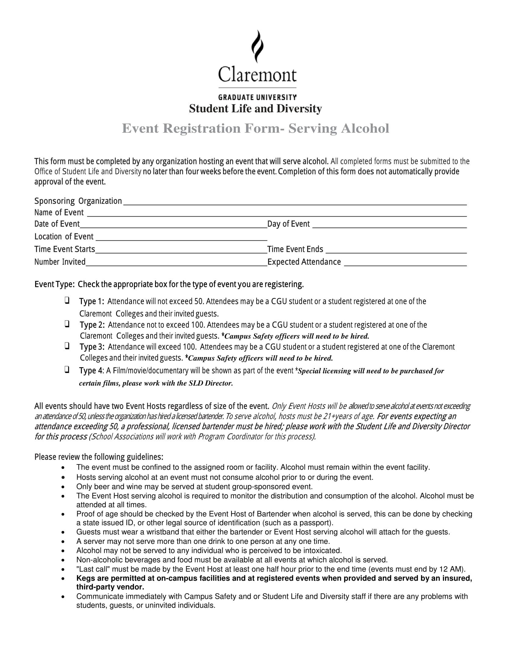 alcohol serving event registration form 1