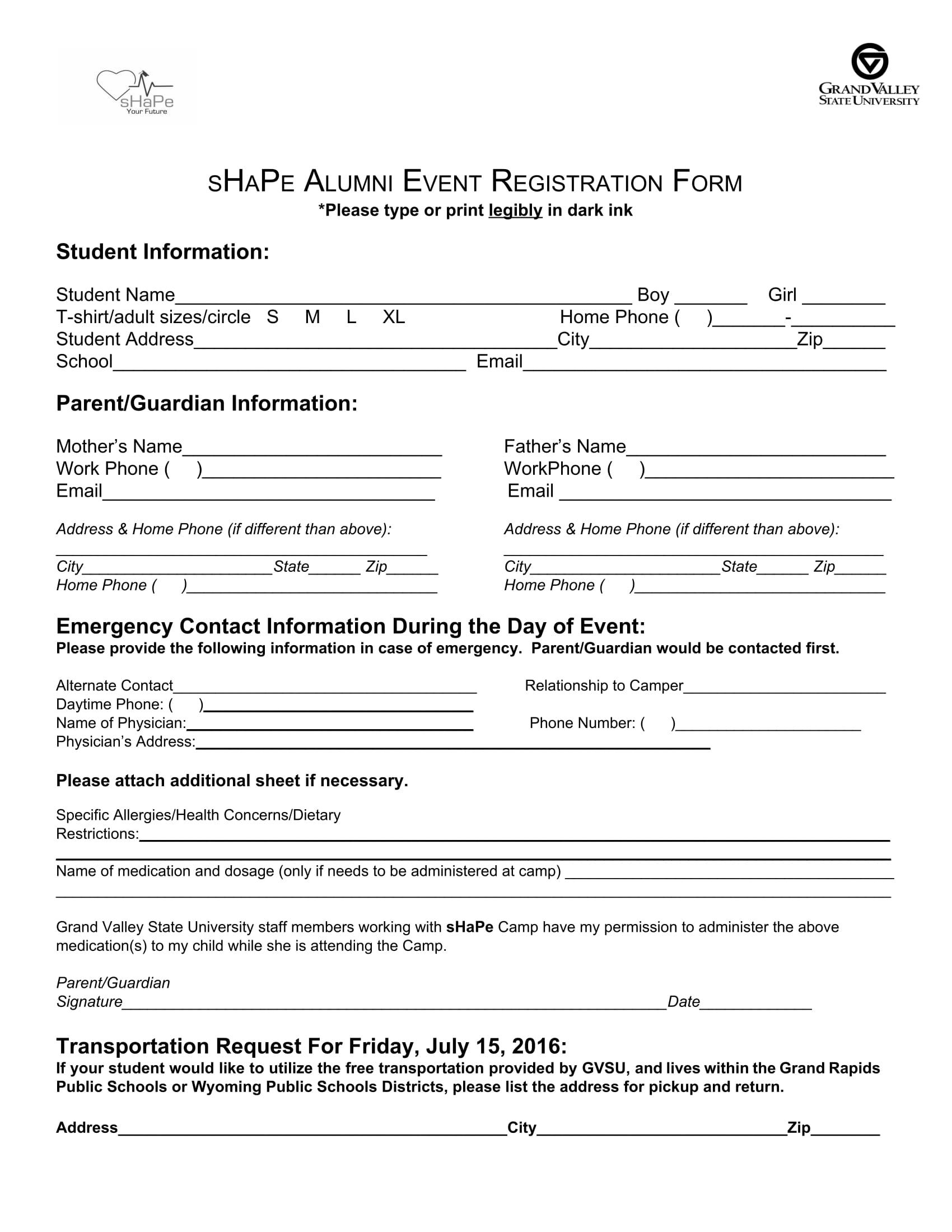 alumni event registration form 1