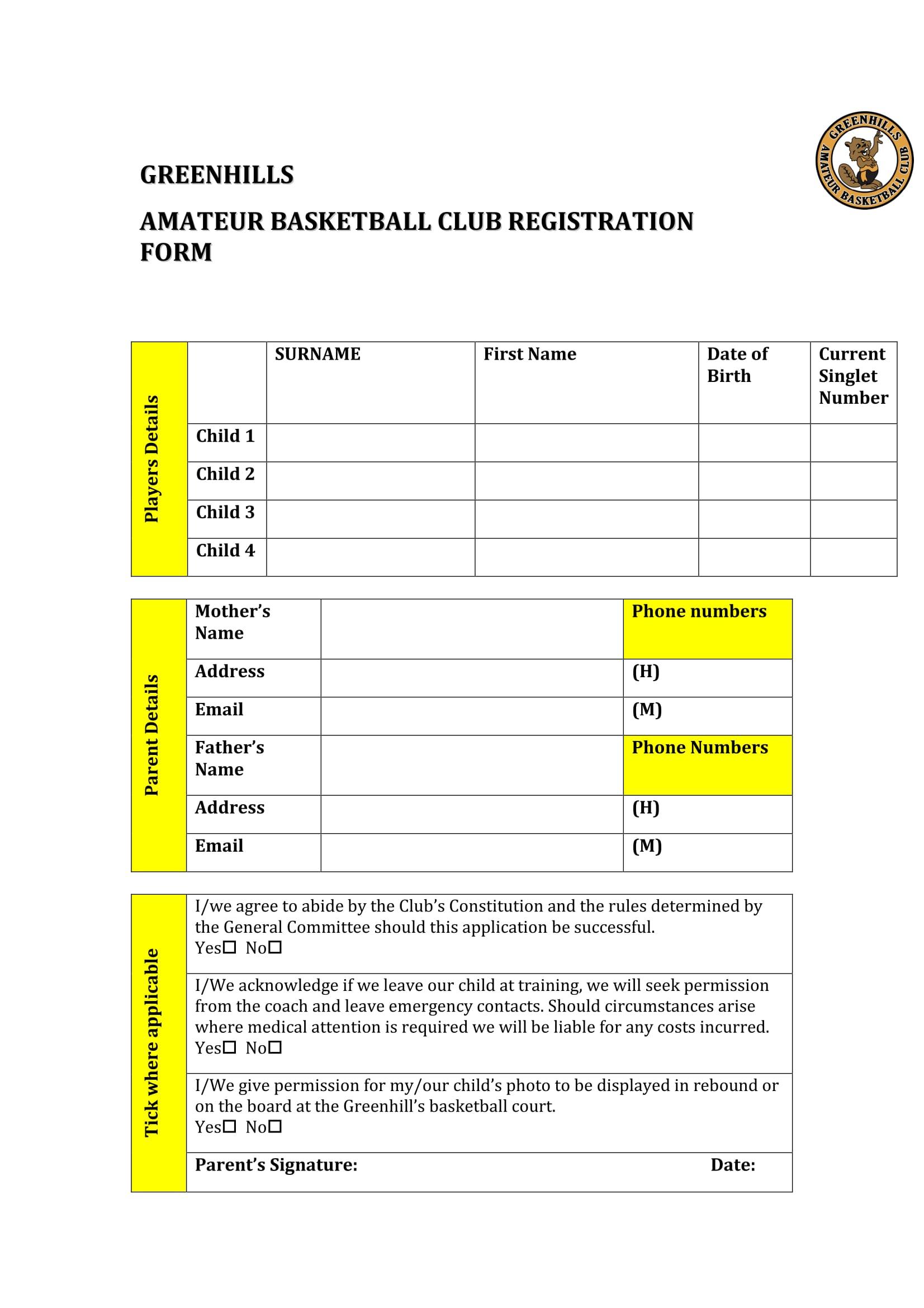 amateur basketball registration form 1