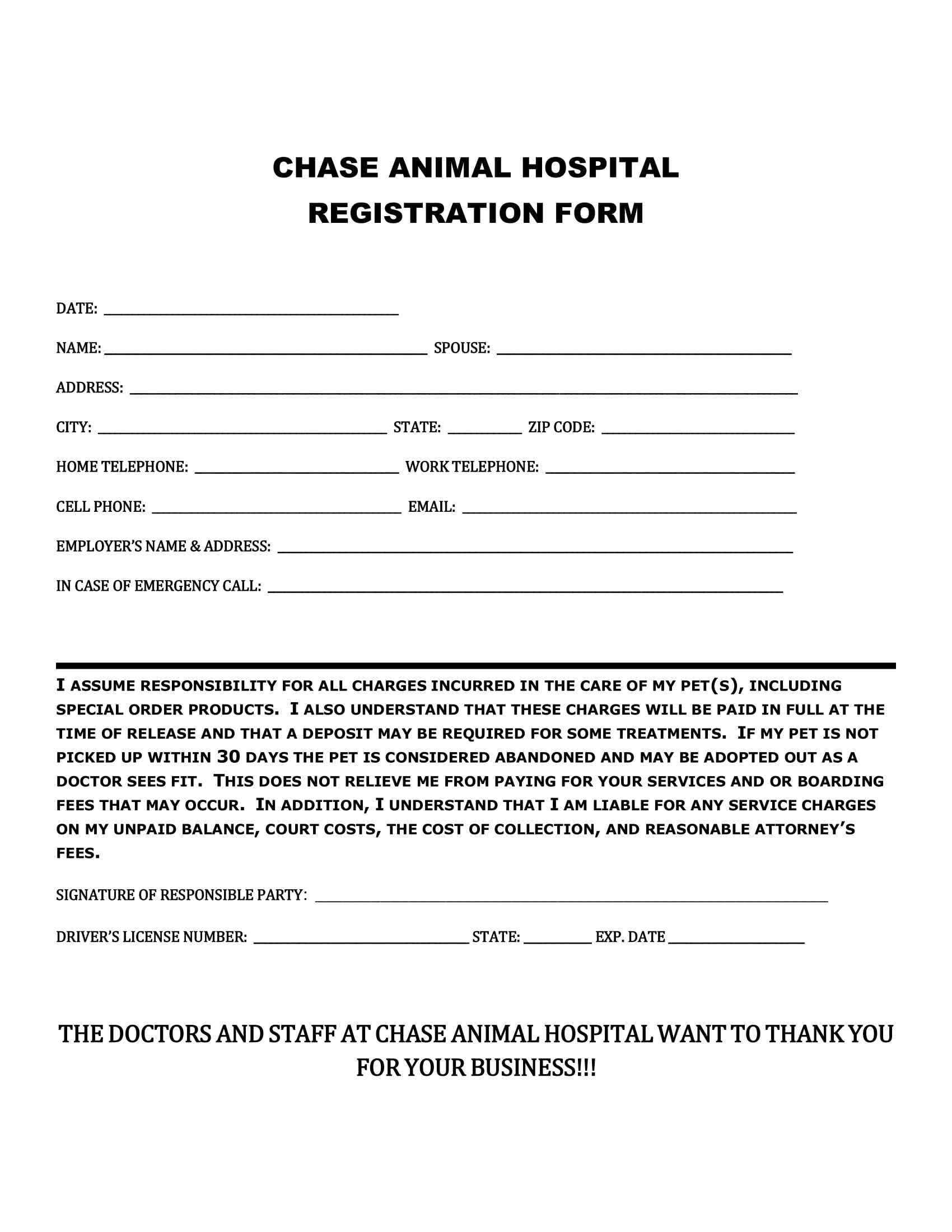 animal hospital registration form 1
