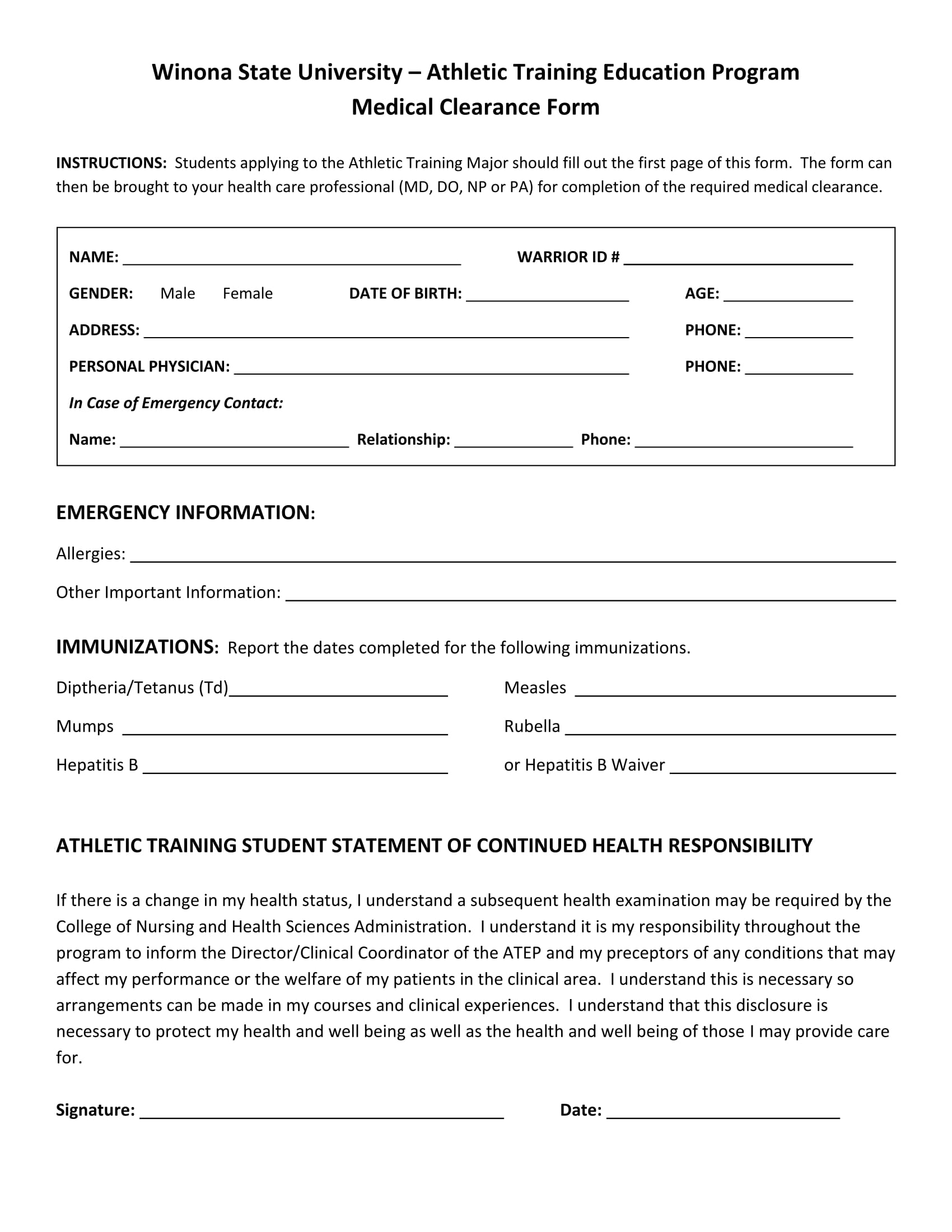 athlete training medical clearance form 1