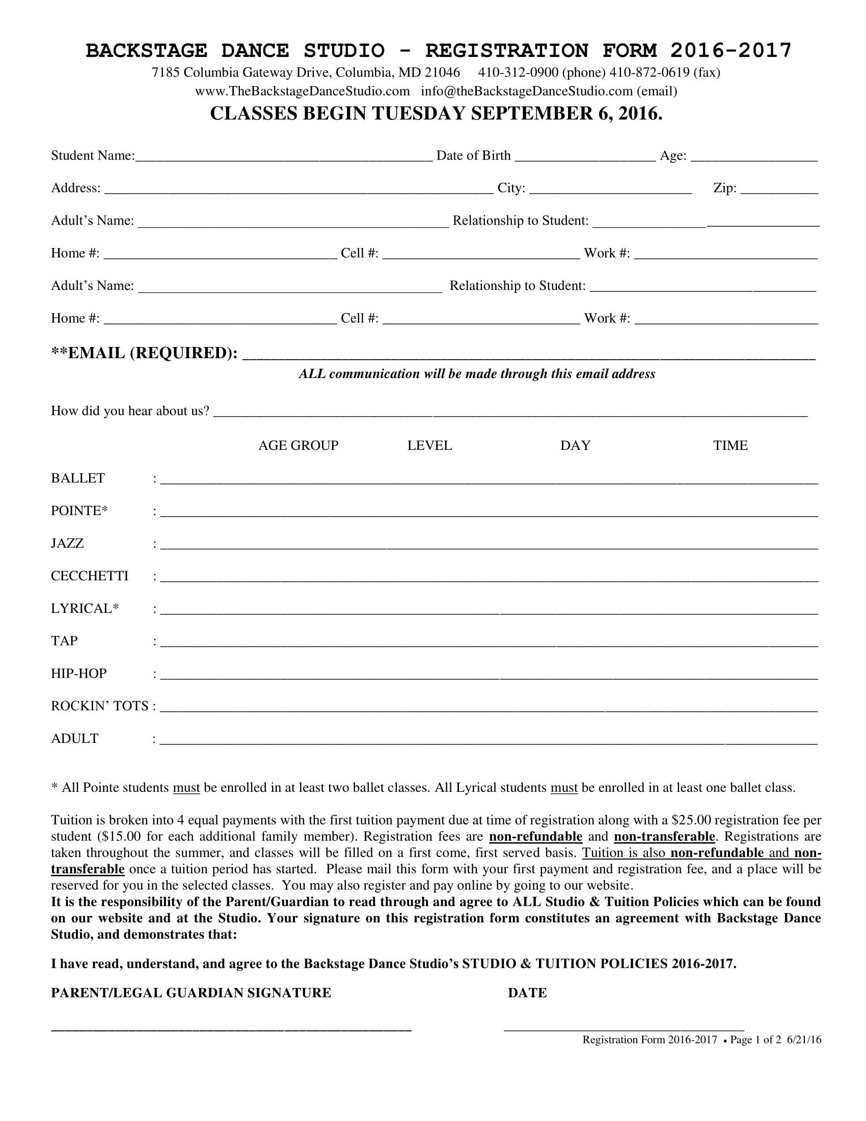 backstage dance registration form 1