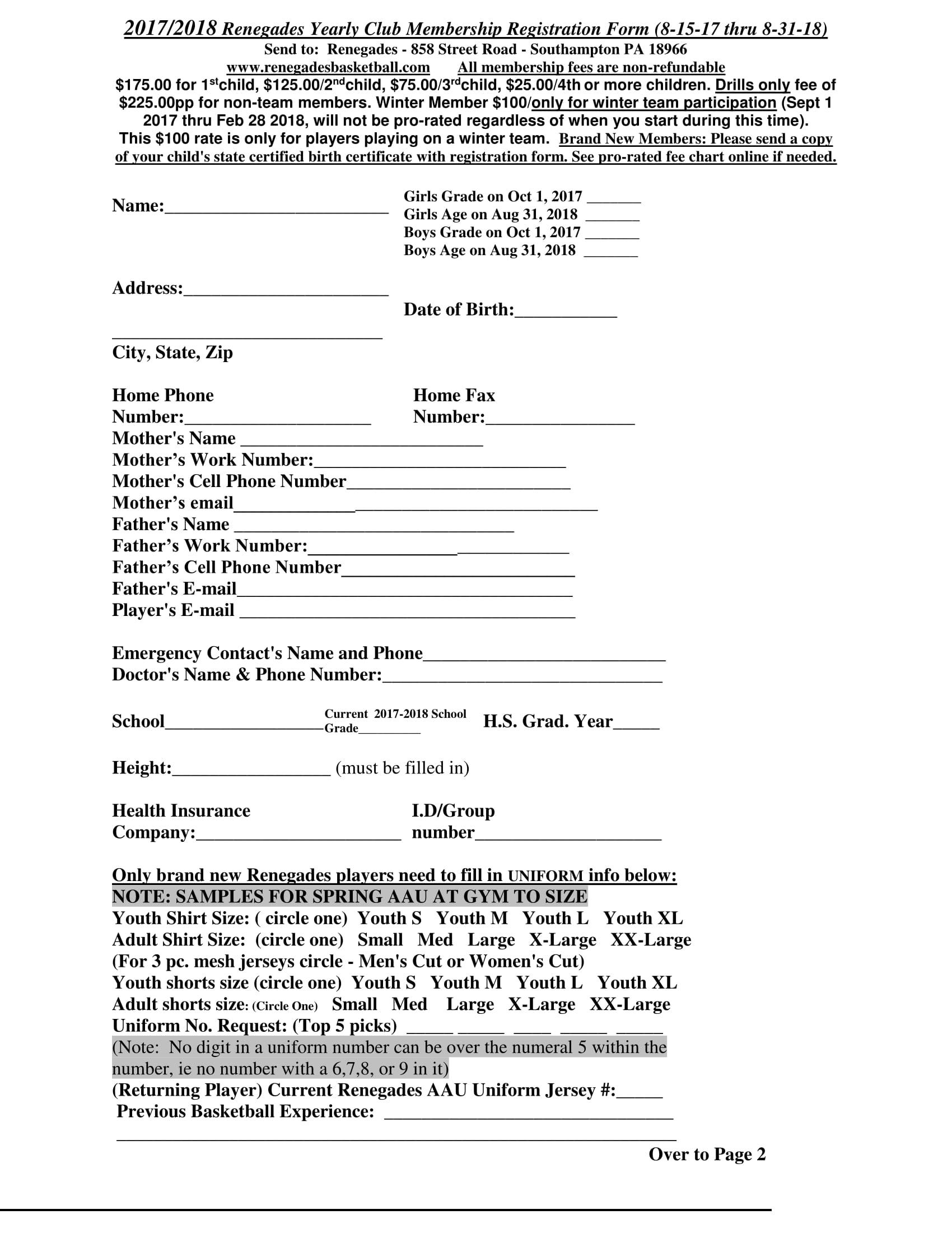 basketball club membership registration form 1