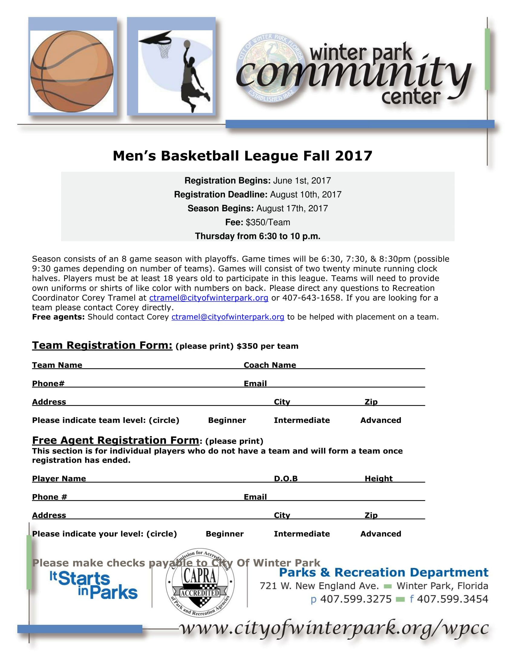 basketball league registration form 1