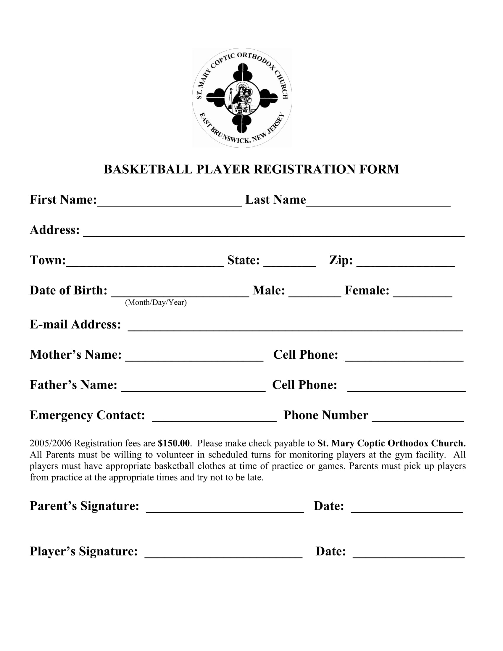 10 basketball registration form samples. Black Bedroom Furniture Sets. Home Design Ideas
