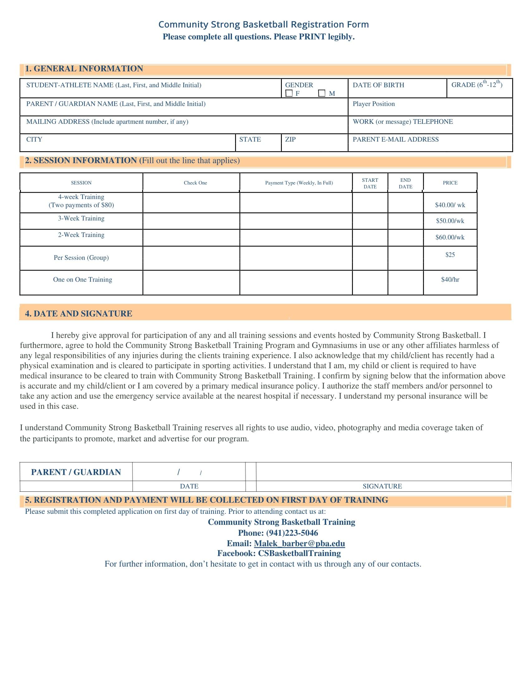 basketball training registration form 2