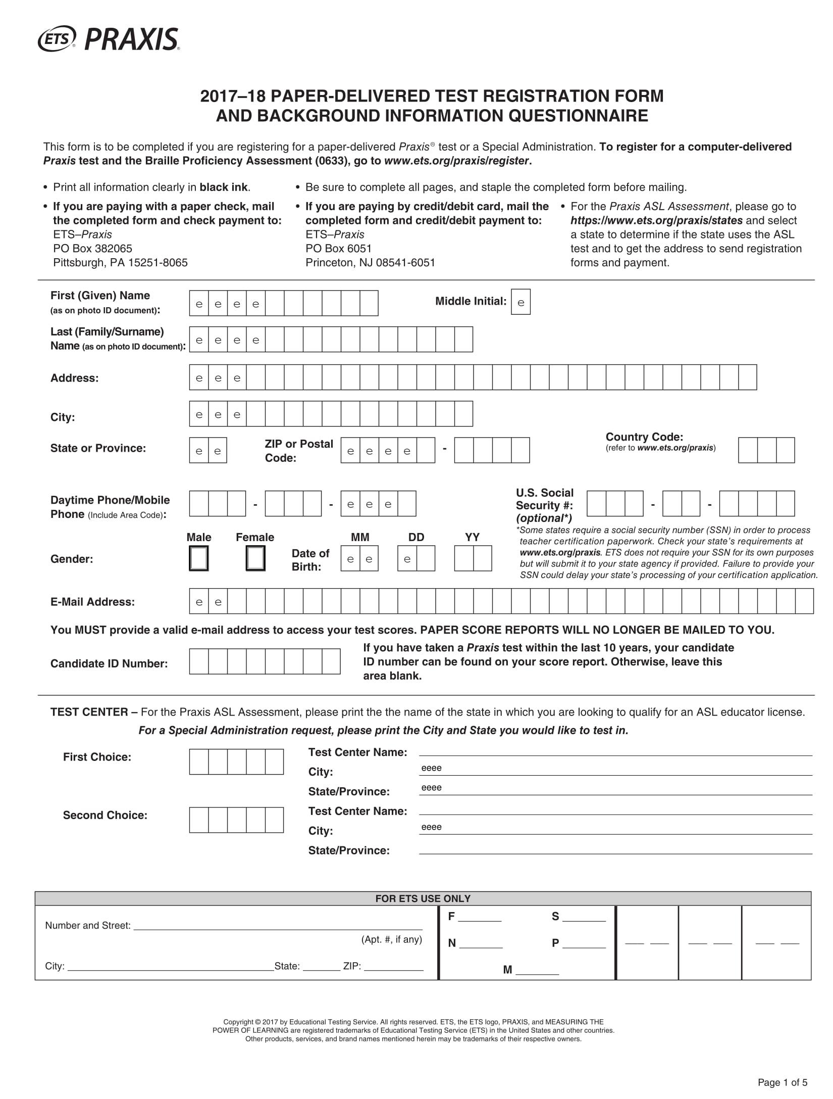 blank test registration form 1