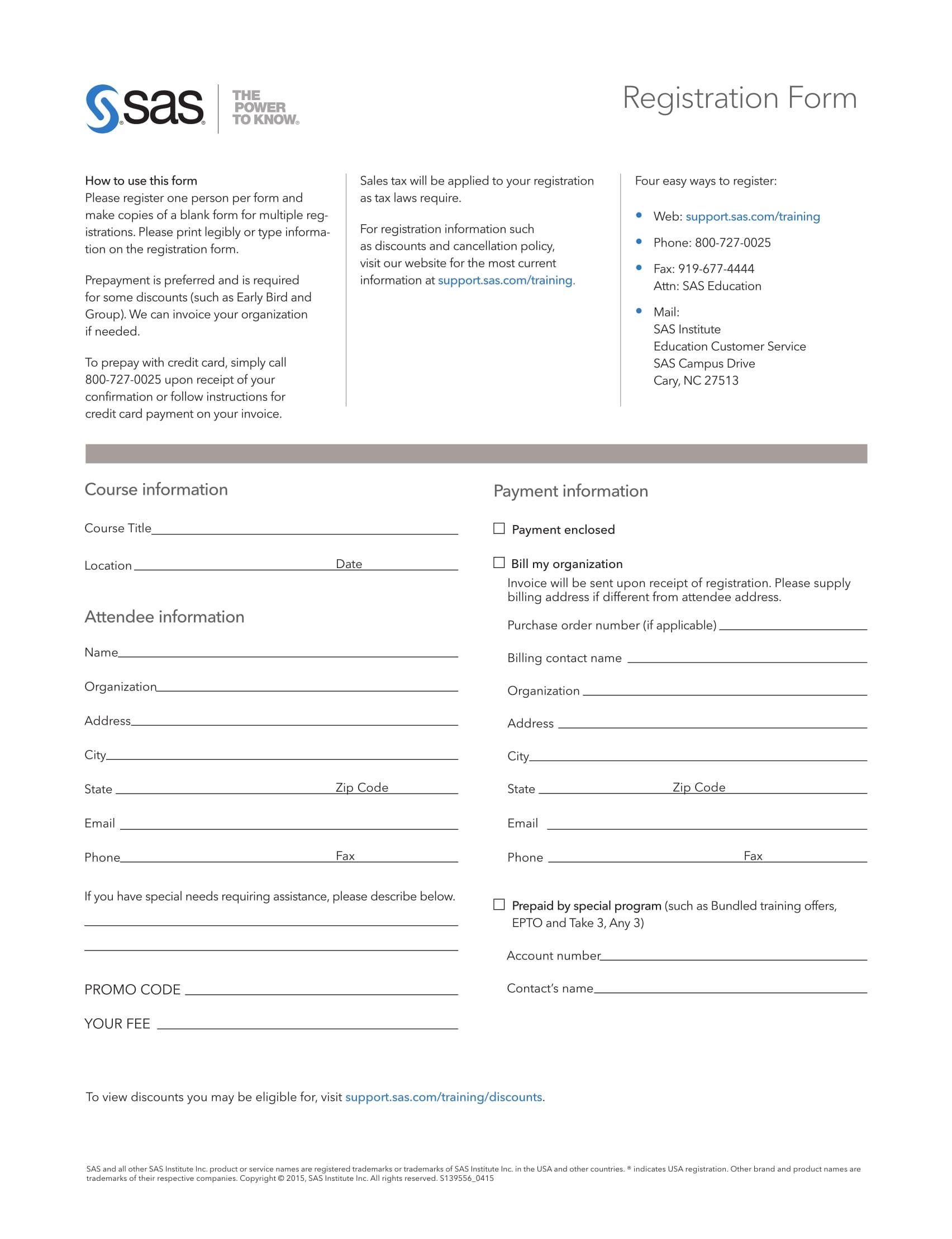 blank training registration form 1
