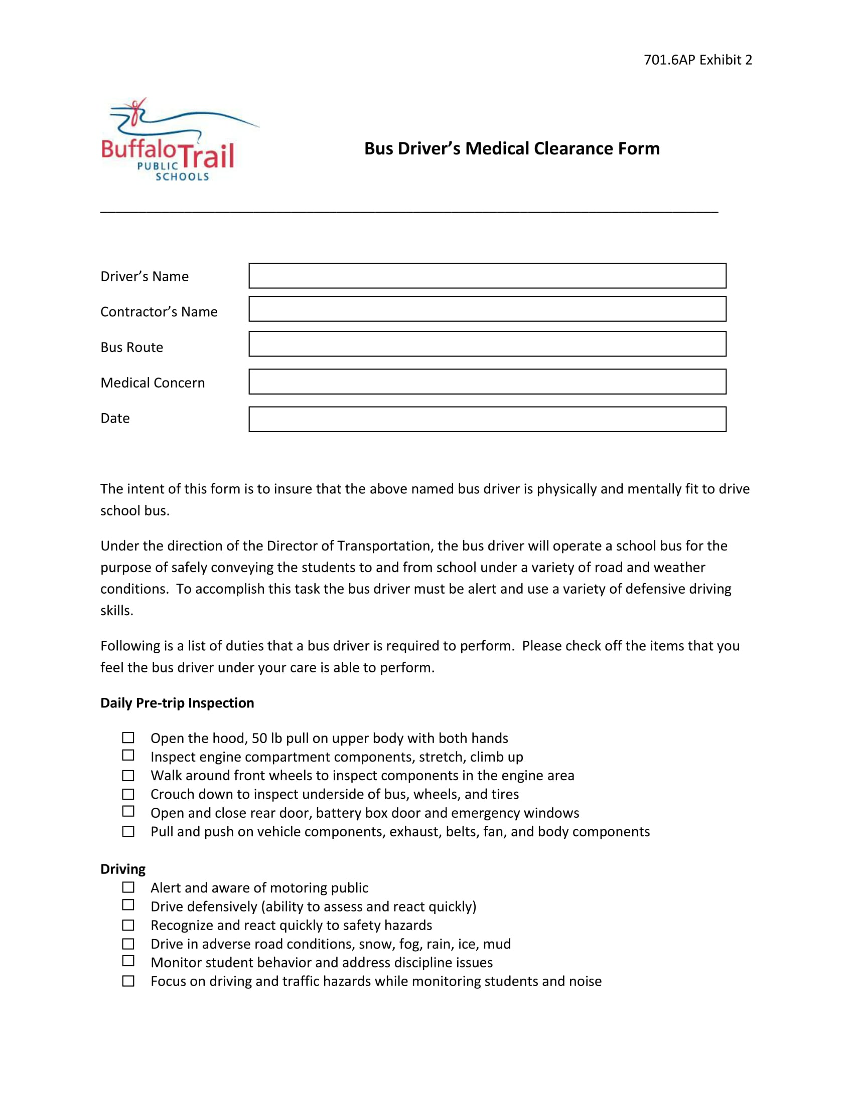 bus driver medical clearance form 1